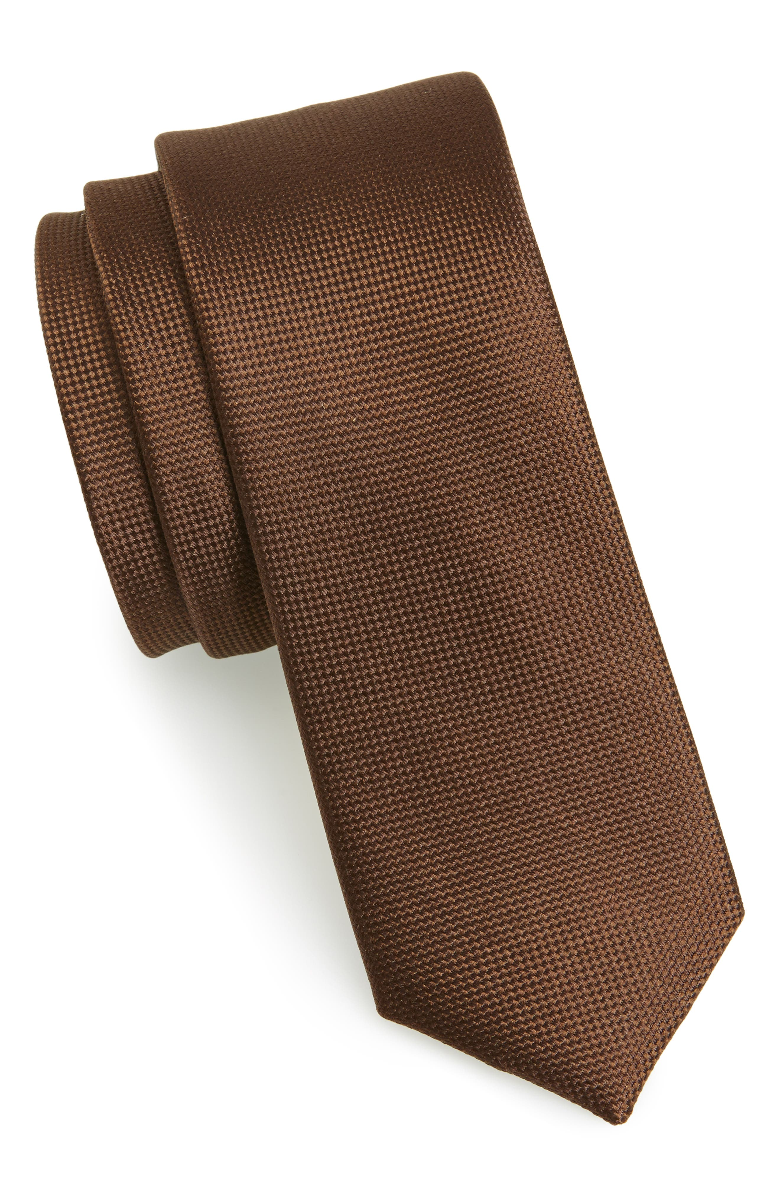 THE TIE BAR Woven Silk Tie, Main, color, CHOCOLATE BROWN