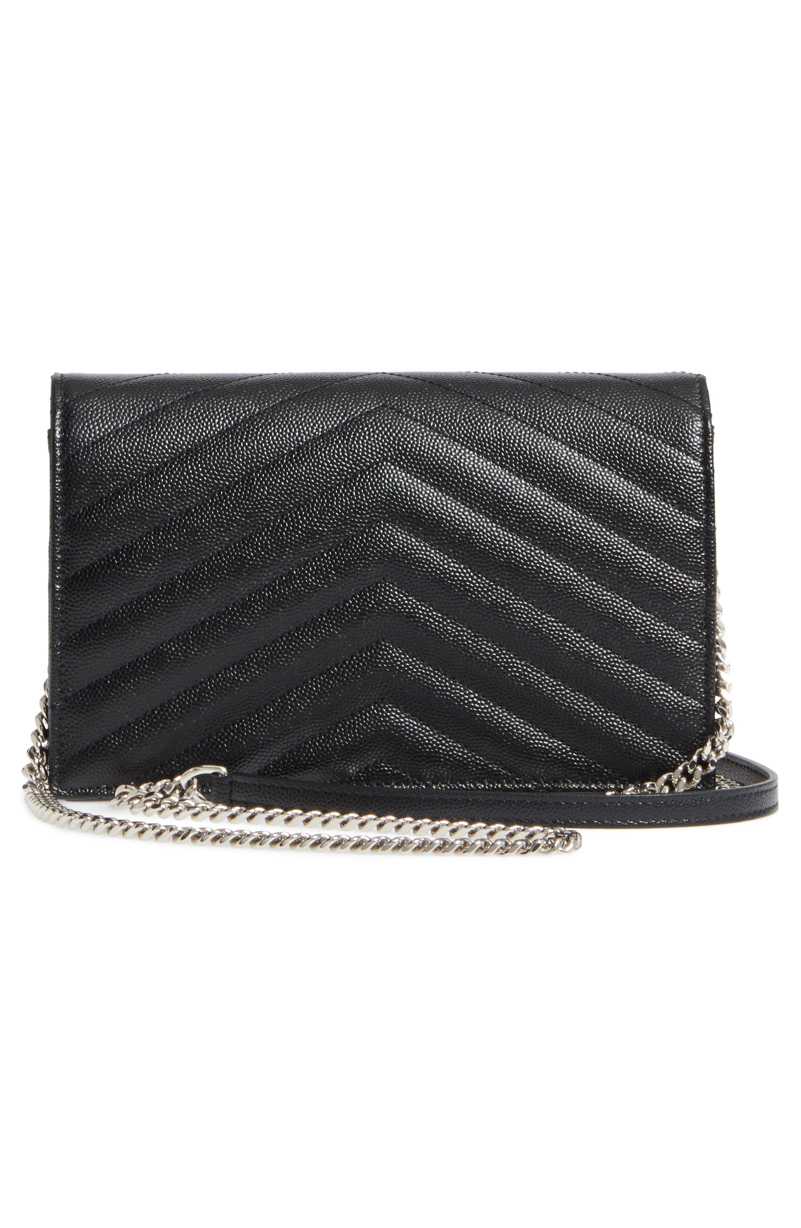 SAINT LAURENT, Quilted Calfskin Leather Wallet on a Chain, Alternate thumbnail 3, color, NOIR