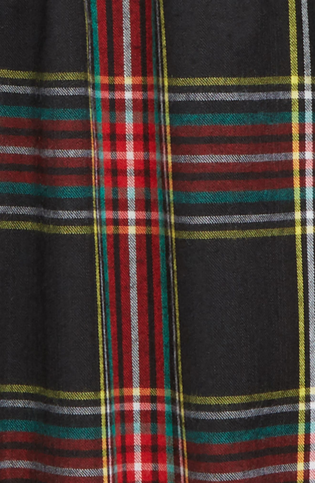 CREWCUTS BY J.CREW, Stewart Black Tartan Flannel Nightgown, Alternate thumbnail 2, color, 960