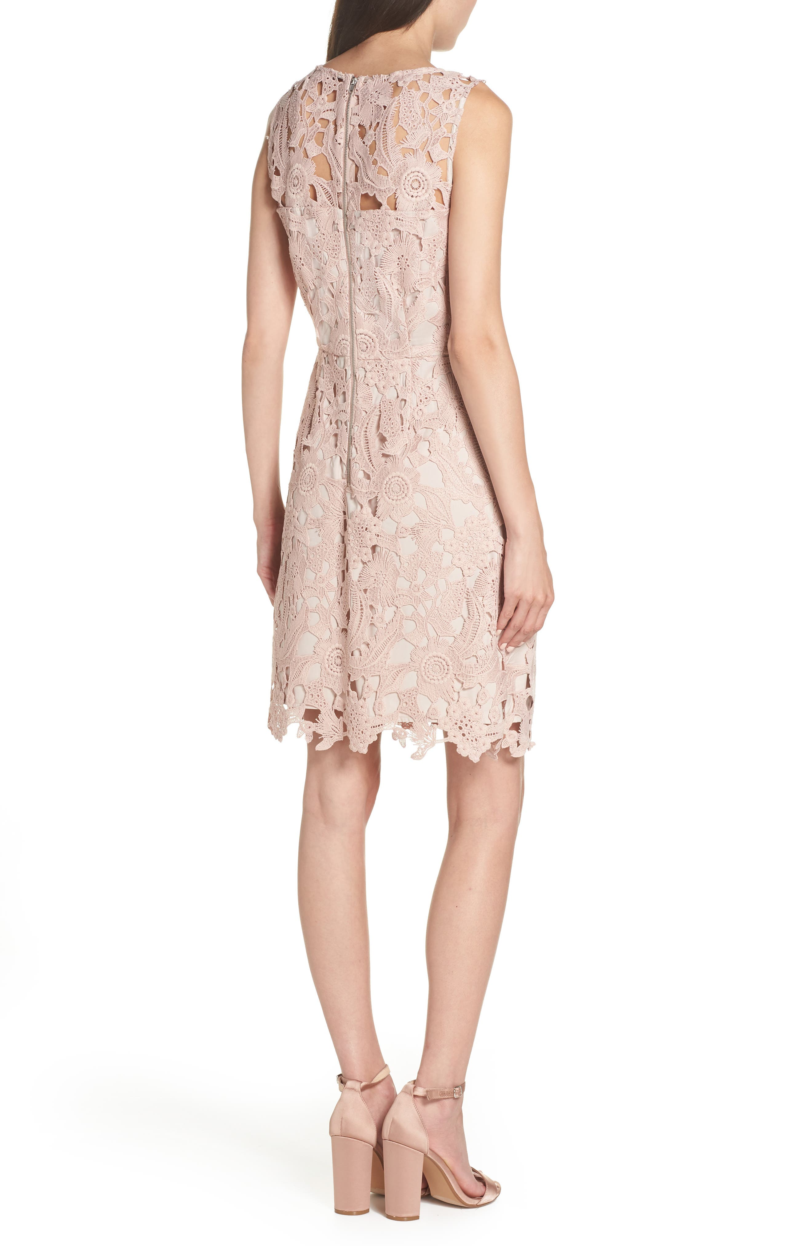 SAM EDELMAN, Lace Sheath Dress, Alternate thumbnail 2, color, BLUSH