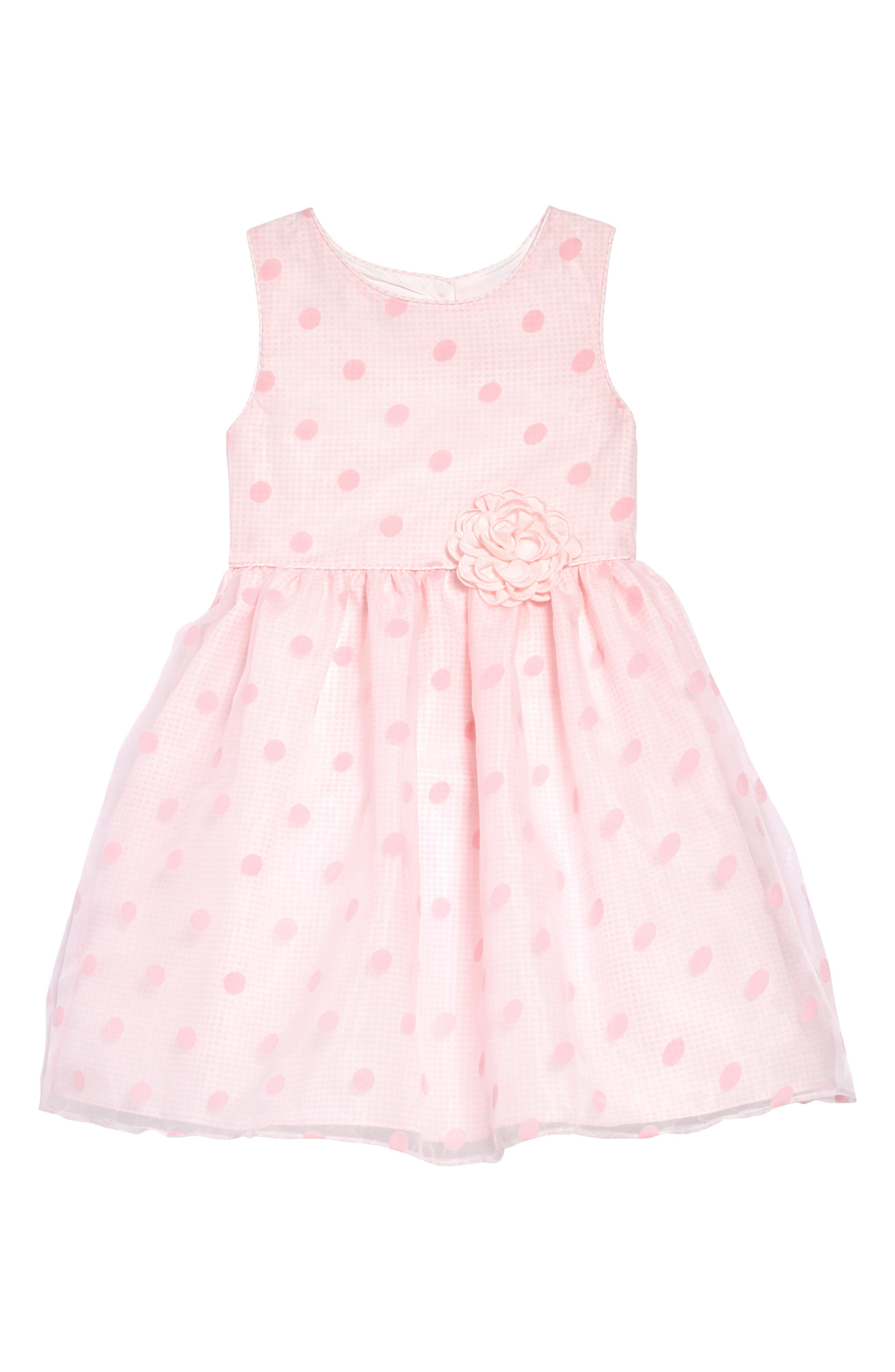 FRAIS, Dot Overlay Gingham Dress, Main thumbnail 1, color, PINK
