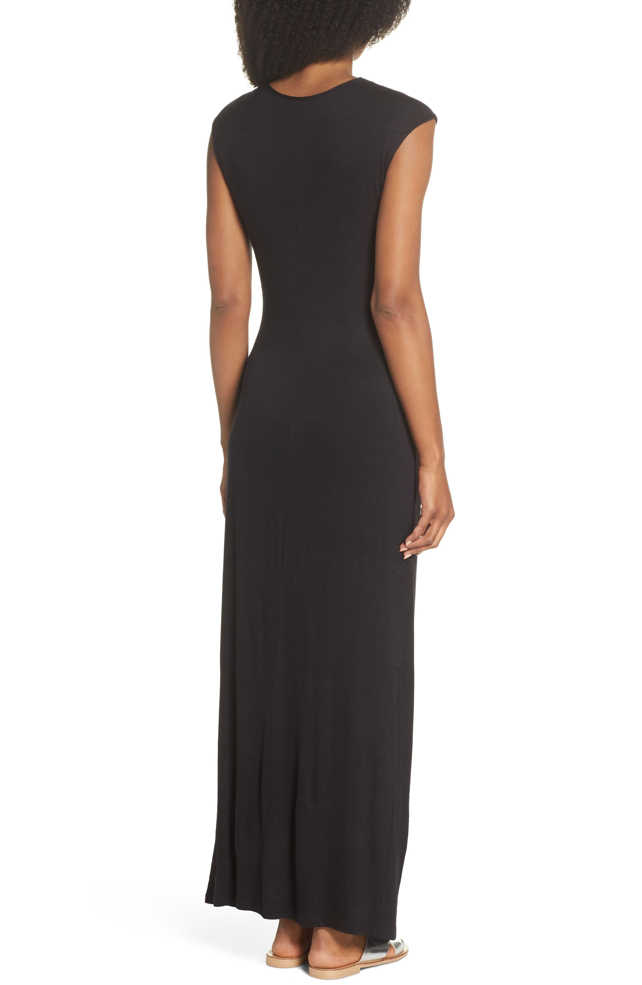 FRAICHE BY J, Ruched Jersey Maxi Dress, Alternate thumbnail 2, color, BLACK