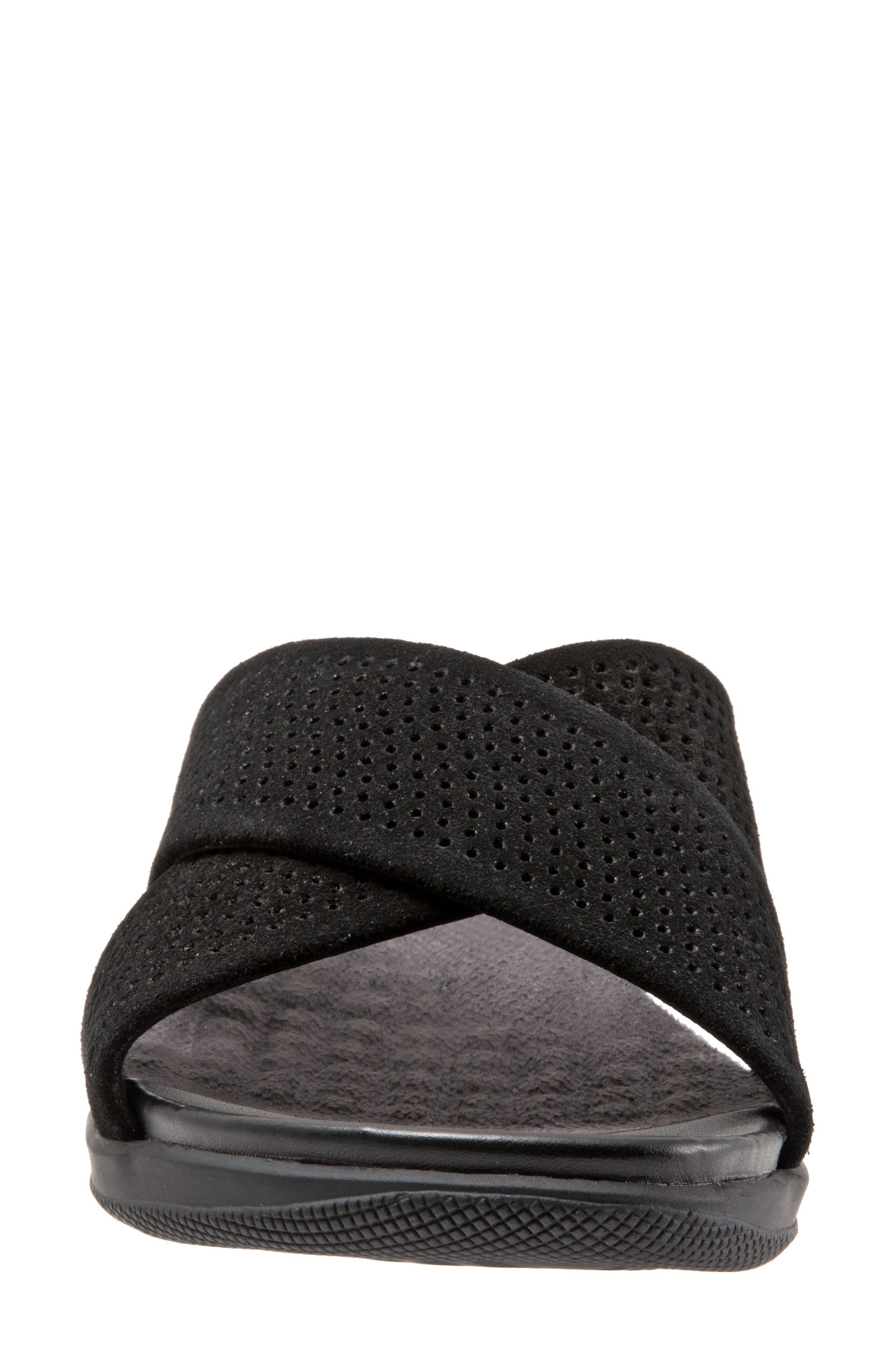 SOFTWALK<SUP>®</SUP>, 'Tillman' Leather Cross Strap Slide Sandal, Alternate thumbnail 4, color, 002