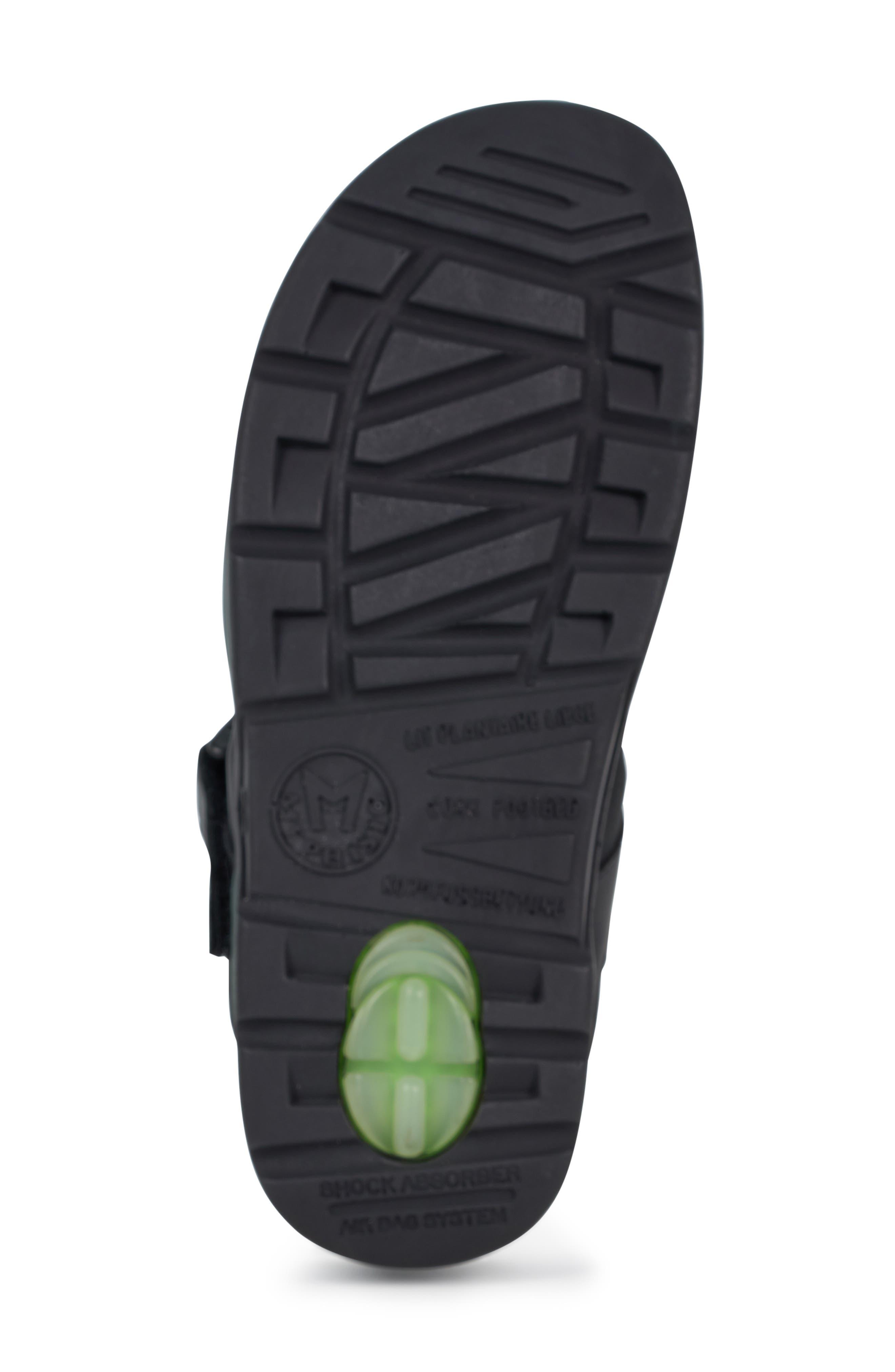 MEPHISTO, 'Shark' Sandal, Alternate thumbnail 6, color, BLACK WAXED LEATHER