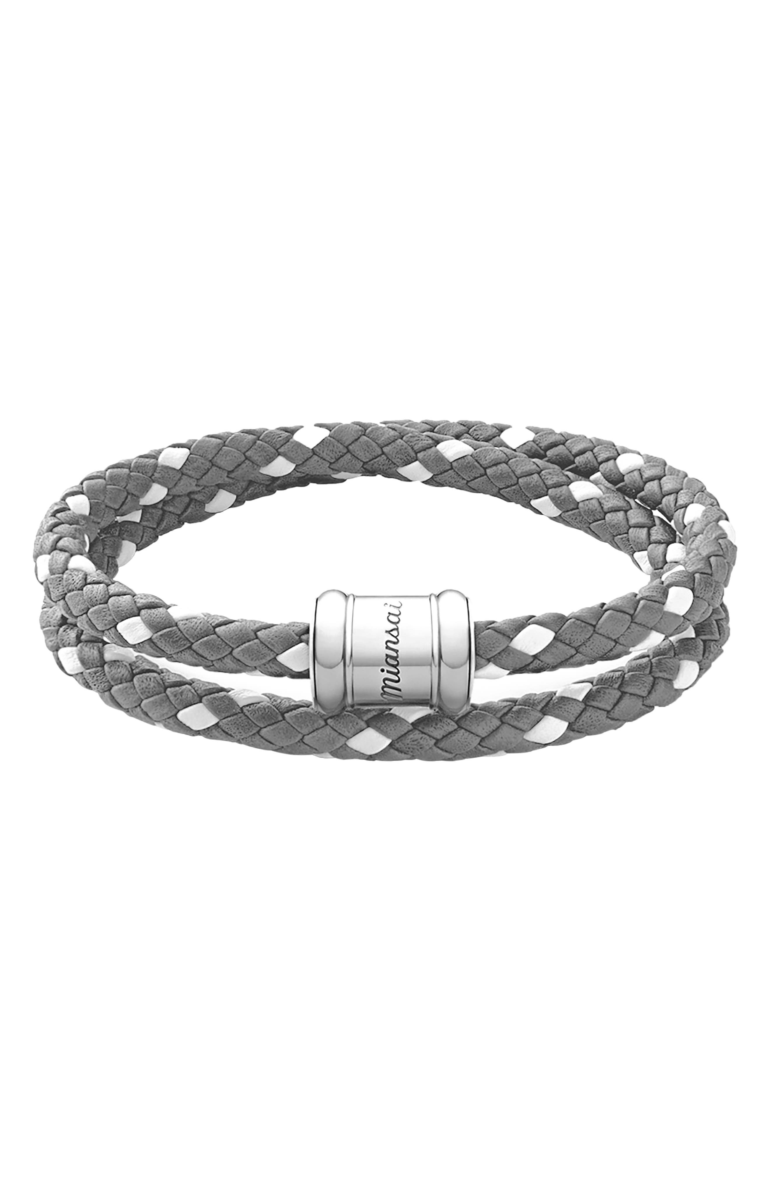 MIANSAI Braided Leather Wrap Bracelet, Main, color, GRAY/ WHITE