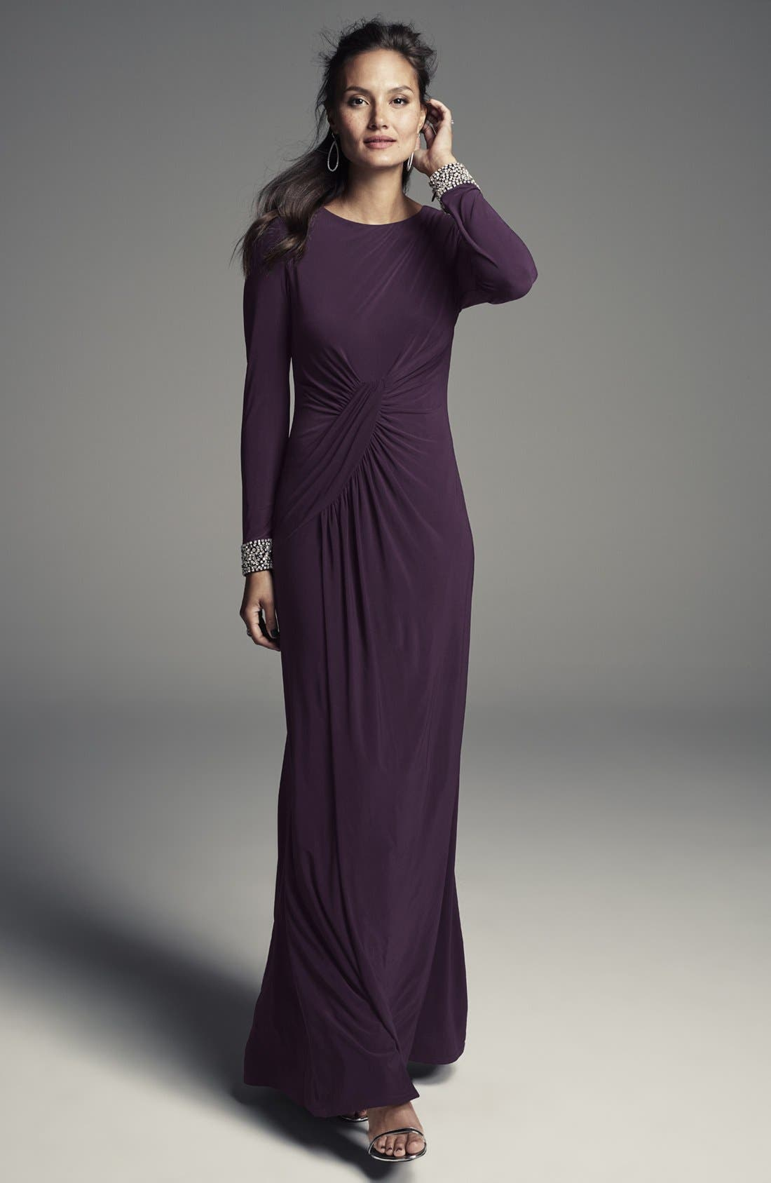 VINCE CAMUTO, Beaded Cuff Ruched Jersey Gown, Alternate thumbnail 9, color, 505