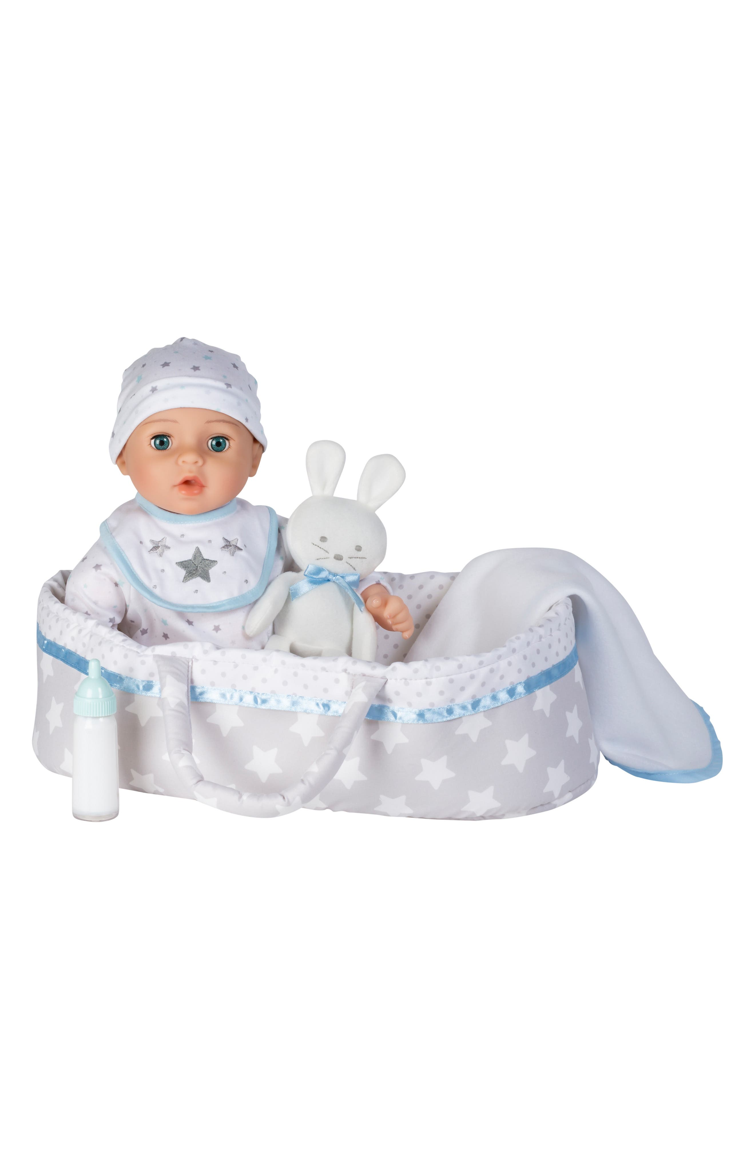 ADORA, Adoption 8-Piece Take Me Home Baby Doll Essentials Set, Alternate thumbnail 3, color, WHITE AND BLUE