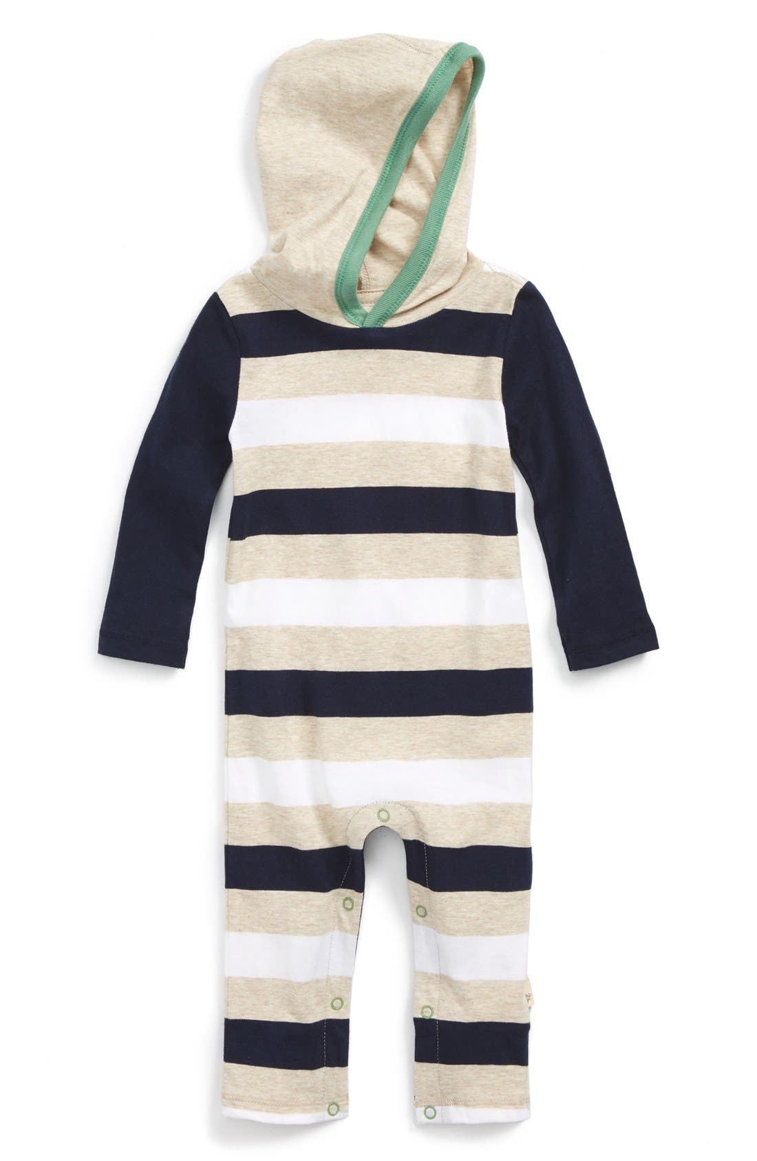 BURT'S BEES BABY, Hooded Organic Cotton Romper, Main thumbnail 1, color, 410