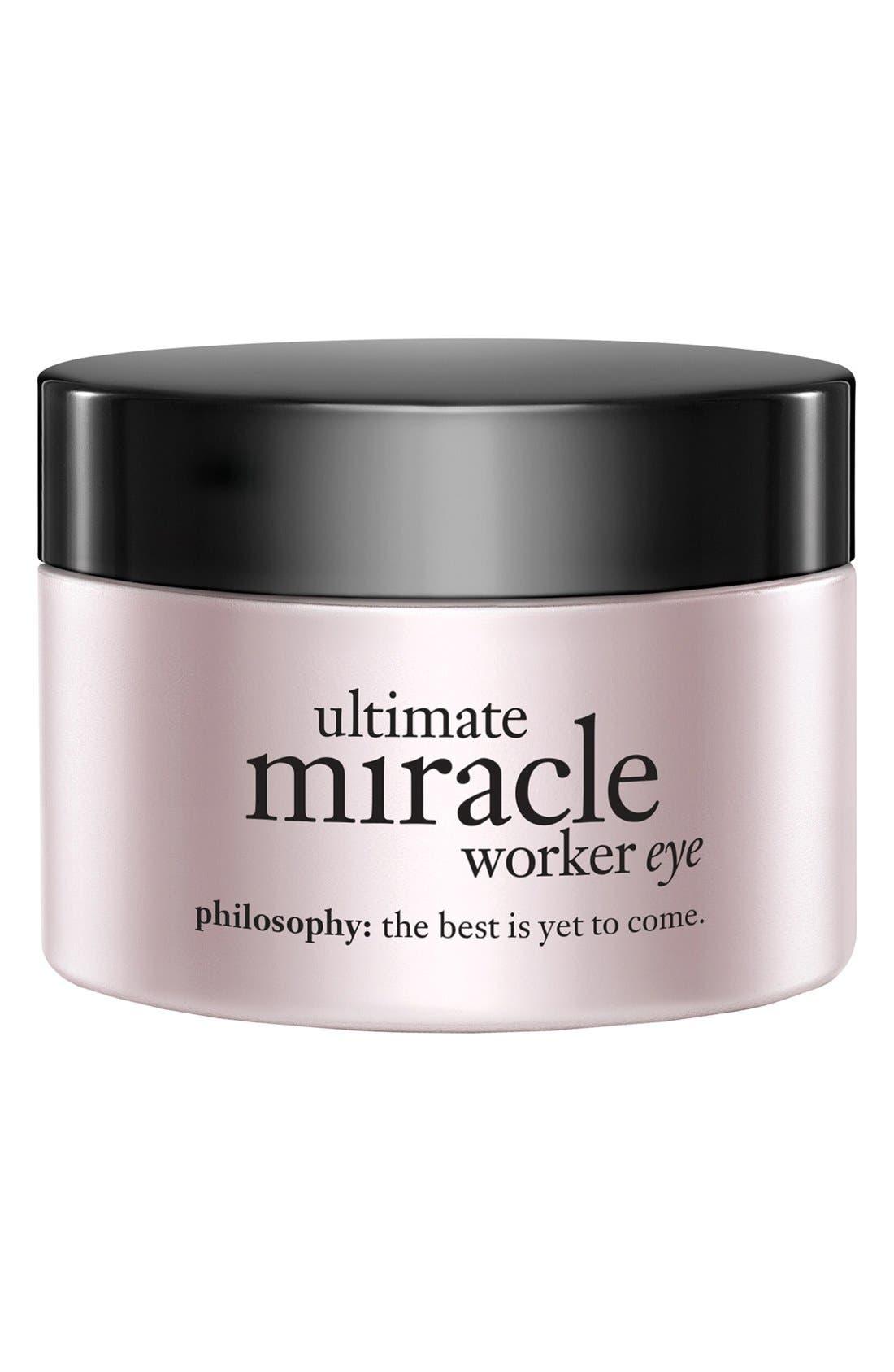 PHILOSOPHY, 'ultimate miracle worker eye' multi-rejuvenating eye cream broad spectrum SPF 15, Main thumbnail 1, color, NO COLOR
