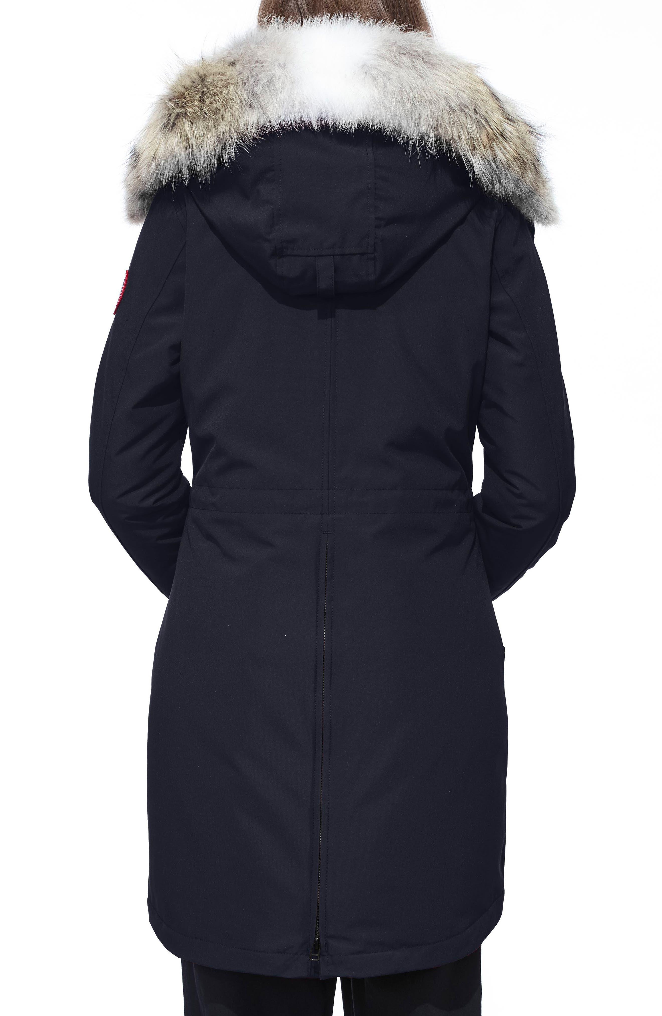 CANADA GOOSE, Rossclair Fusion Fit Genuine Coyote Fur Trim Down Parka, Alternate thumbnail 2, color, ADMIRAL BLUE
