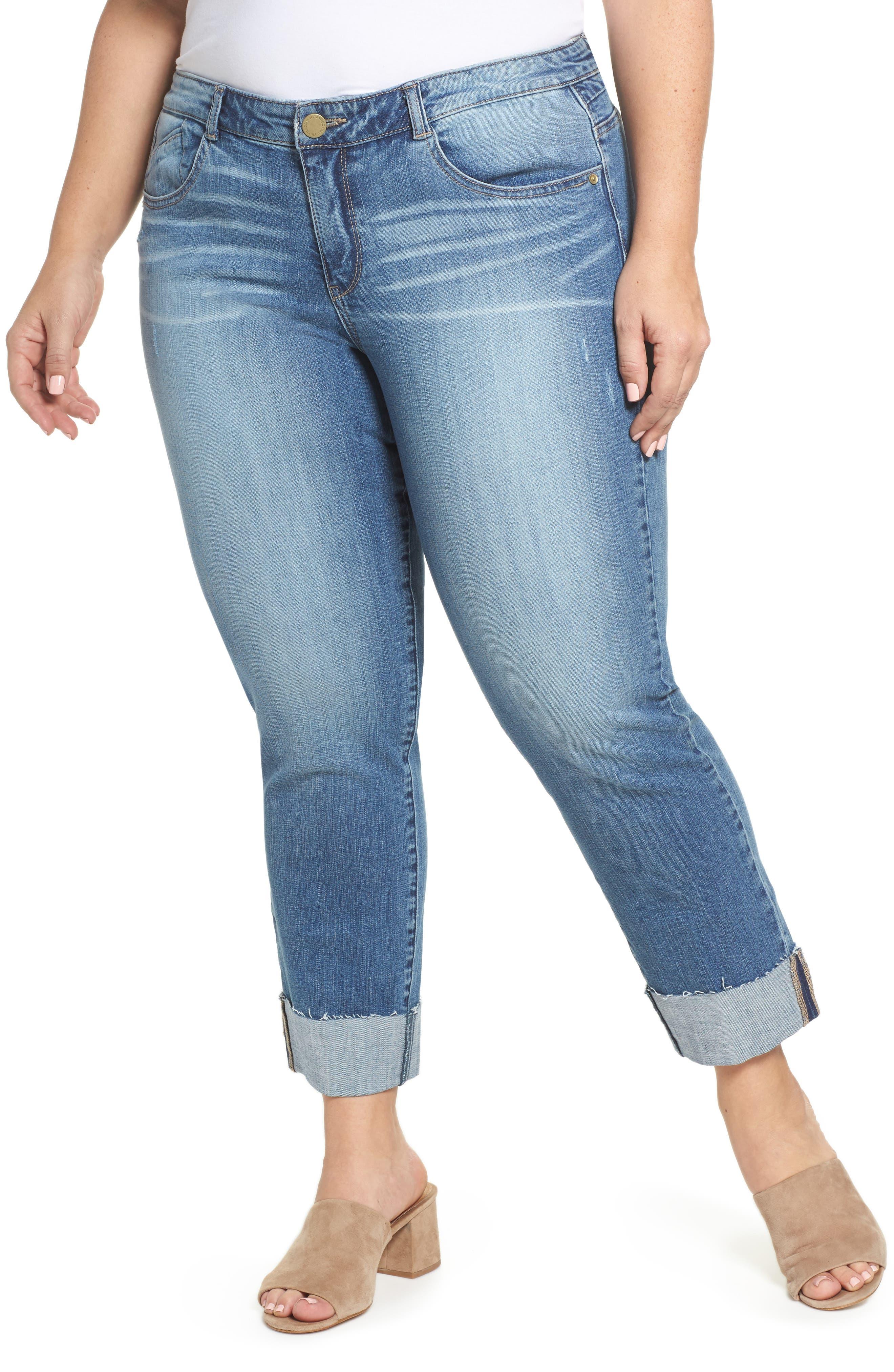 WIT & WISDOM, Flex-ellent Boyfriend Jeans, Main thumbnail 1, color, BLUE