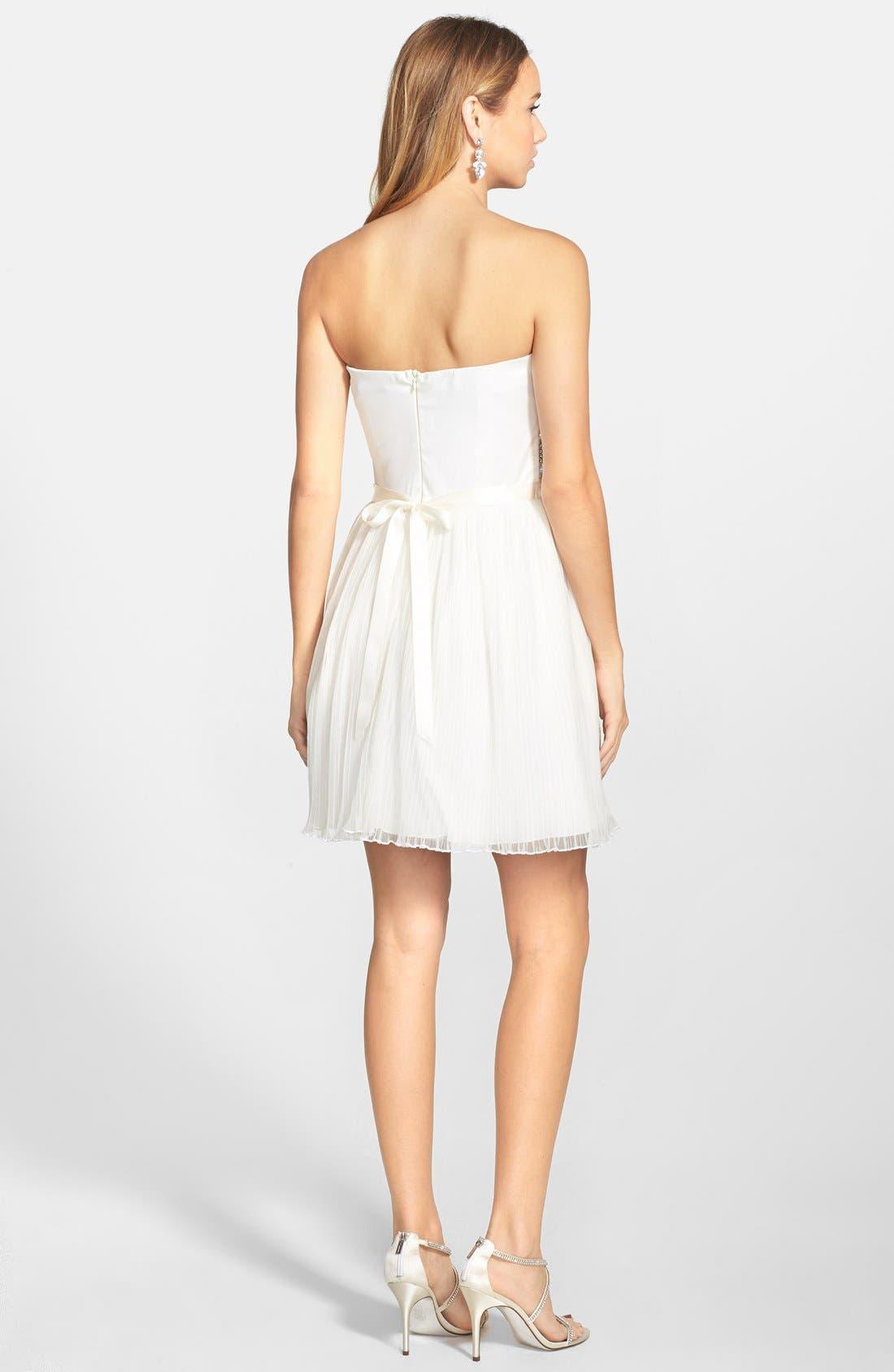 AS U WISH, Strapless Gem Bodice Dress, Alternate thumbnail 3, color, 100