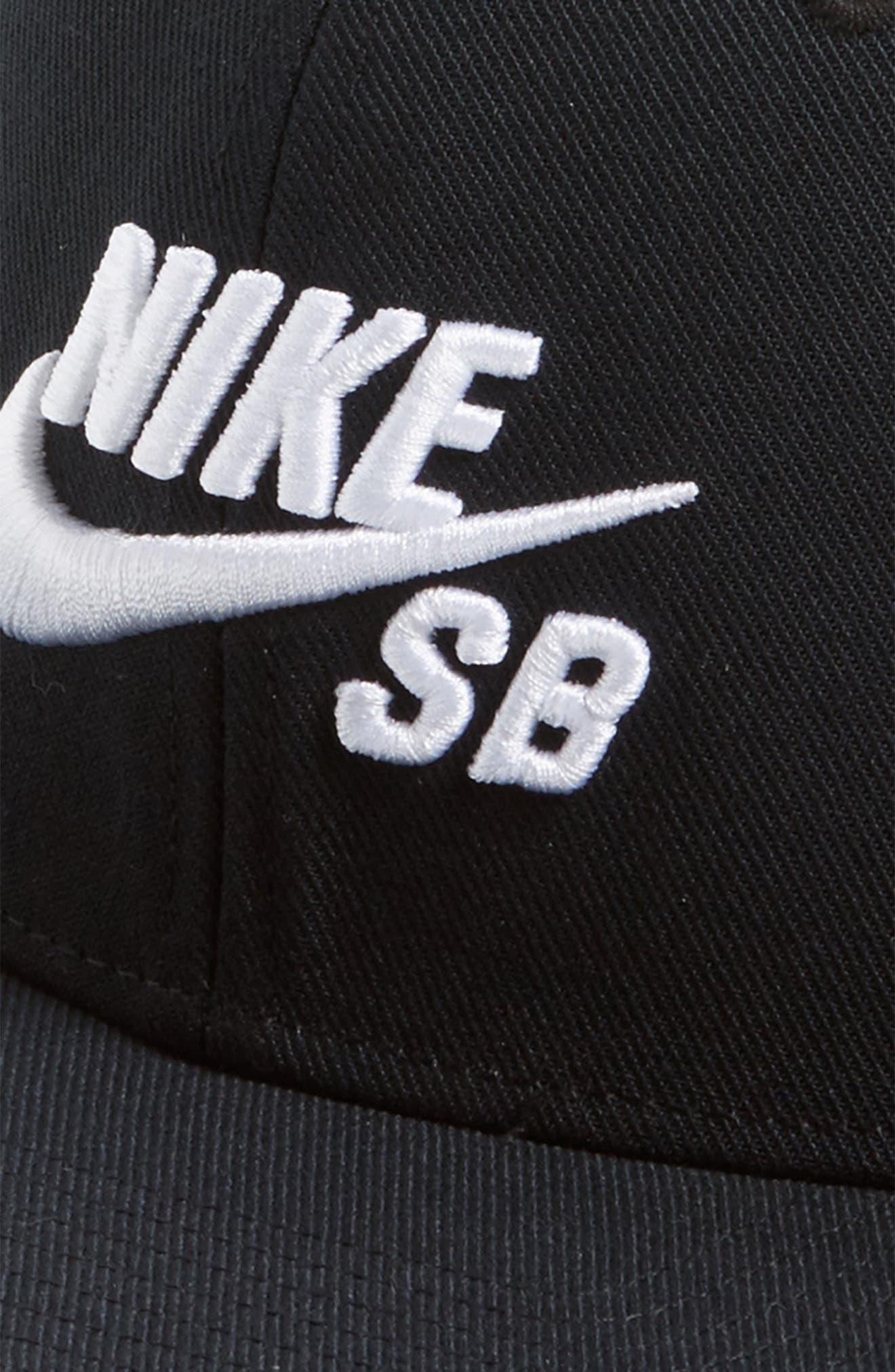 NIKE SB, Nike Pro Snapback Baseball Cap, Alternate thumbnail 3, color, BLACK/ BLACK/ BLACK/ WHITE