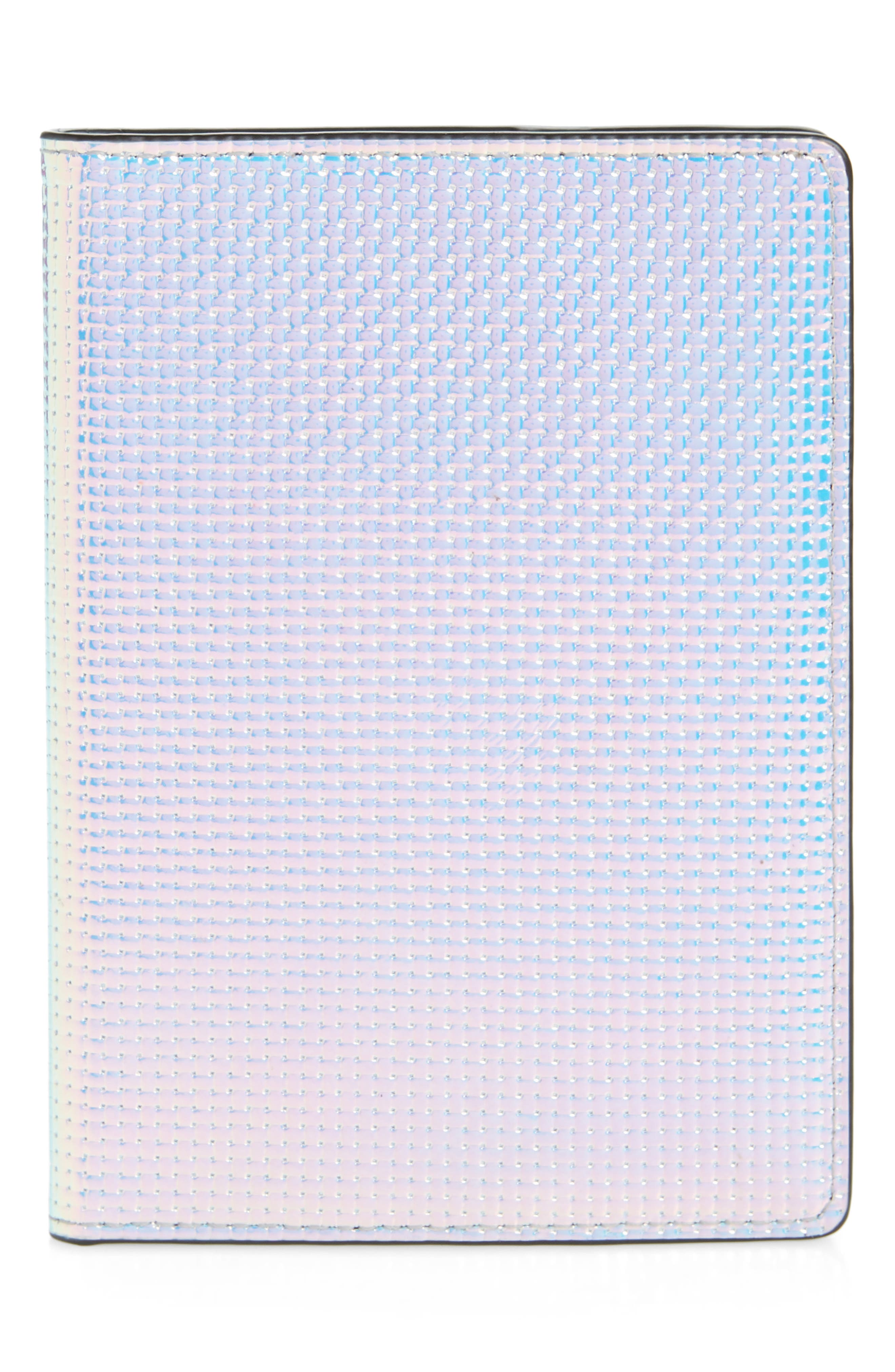 REBECCA MINKOFF, Iridescent Passport Case, Main thumbnail 1, color, OPAL IRIDESCENT