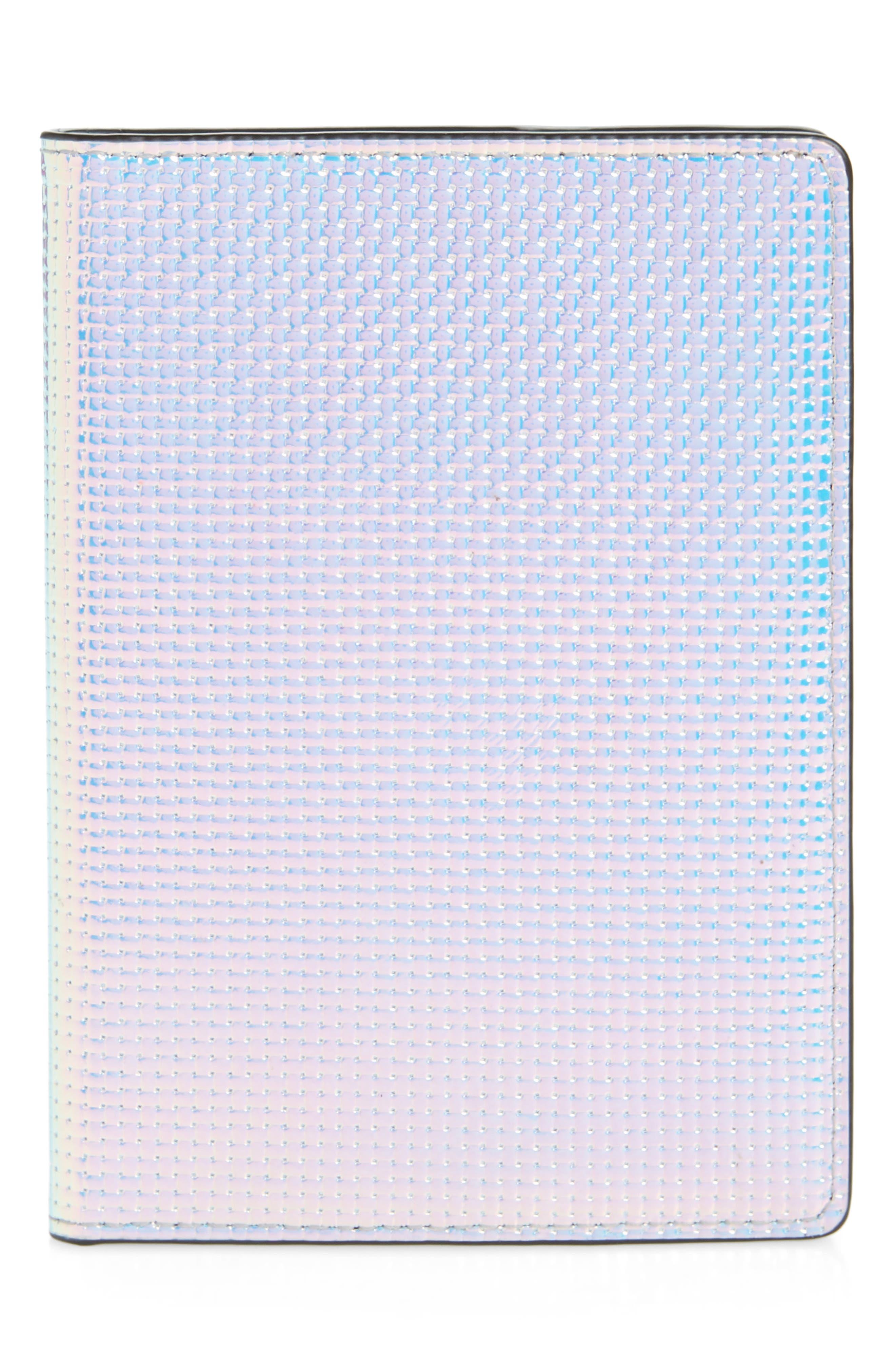 REBECCA MINKOFF Iridescent Passport Case, Main, color, OPAL IRIDESCENT