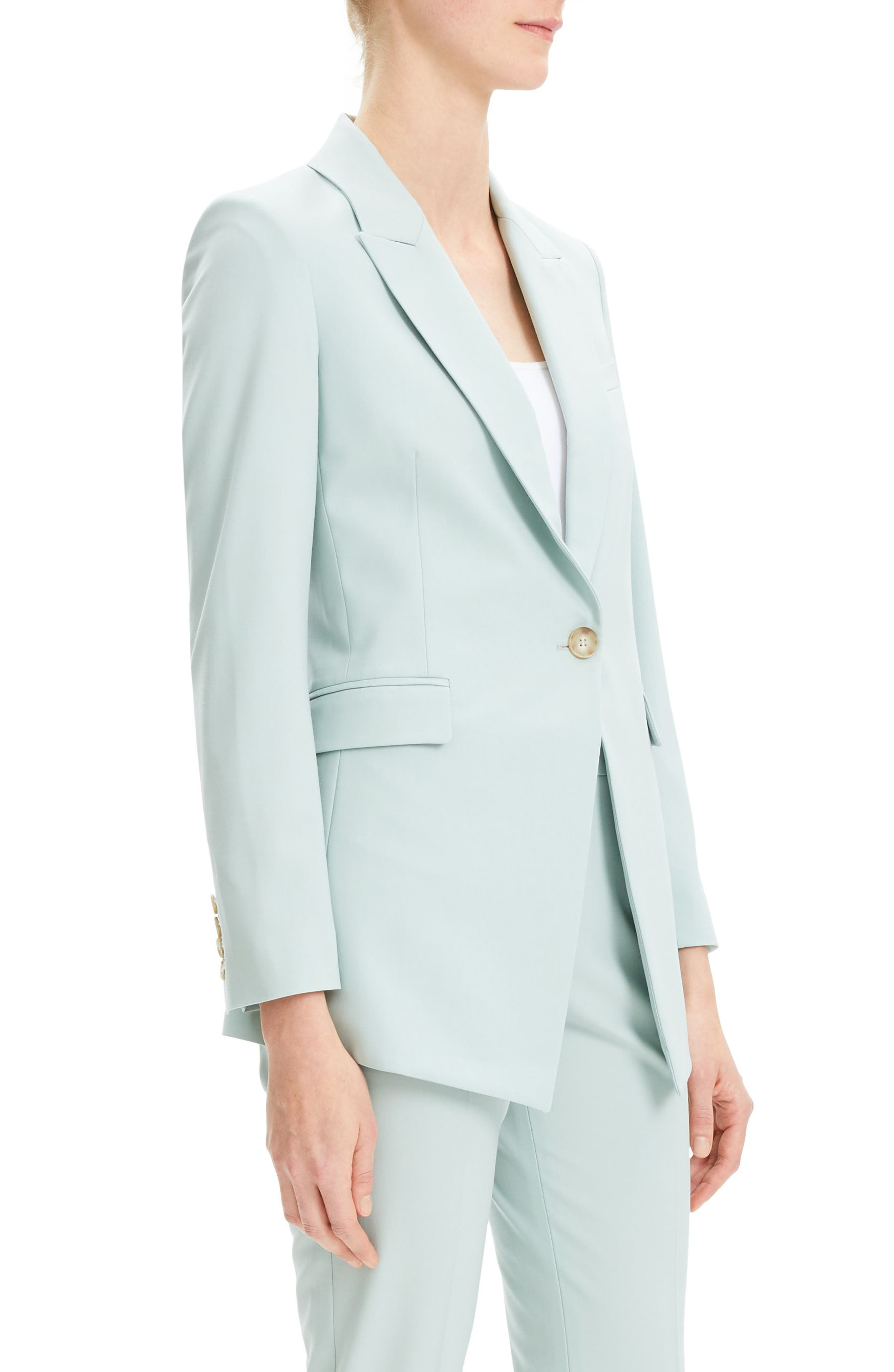 THEORY, Etienette B Good Wool Suit Jacket, Alternate thumbnail 3, color, OPAL GREEN