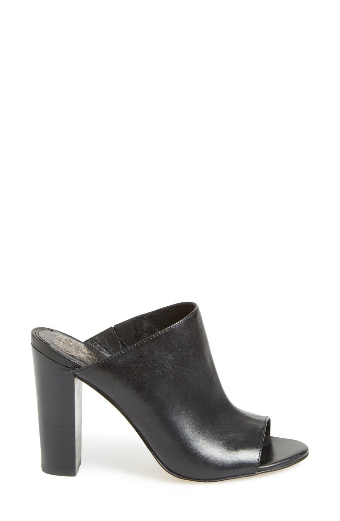VINCE CAMUTO, 'Vestata' Leather Peep Toe Mule, Alternate thumbnail 6, color, 001