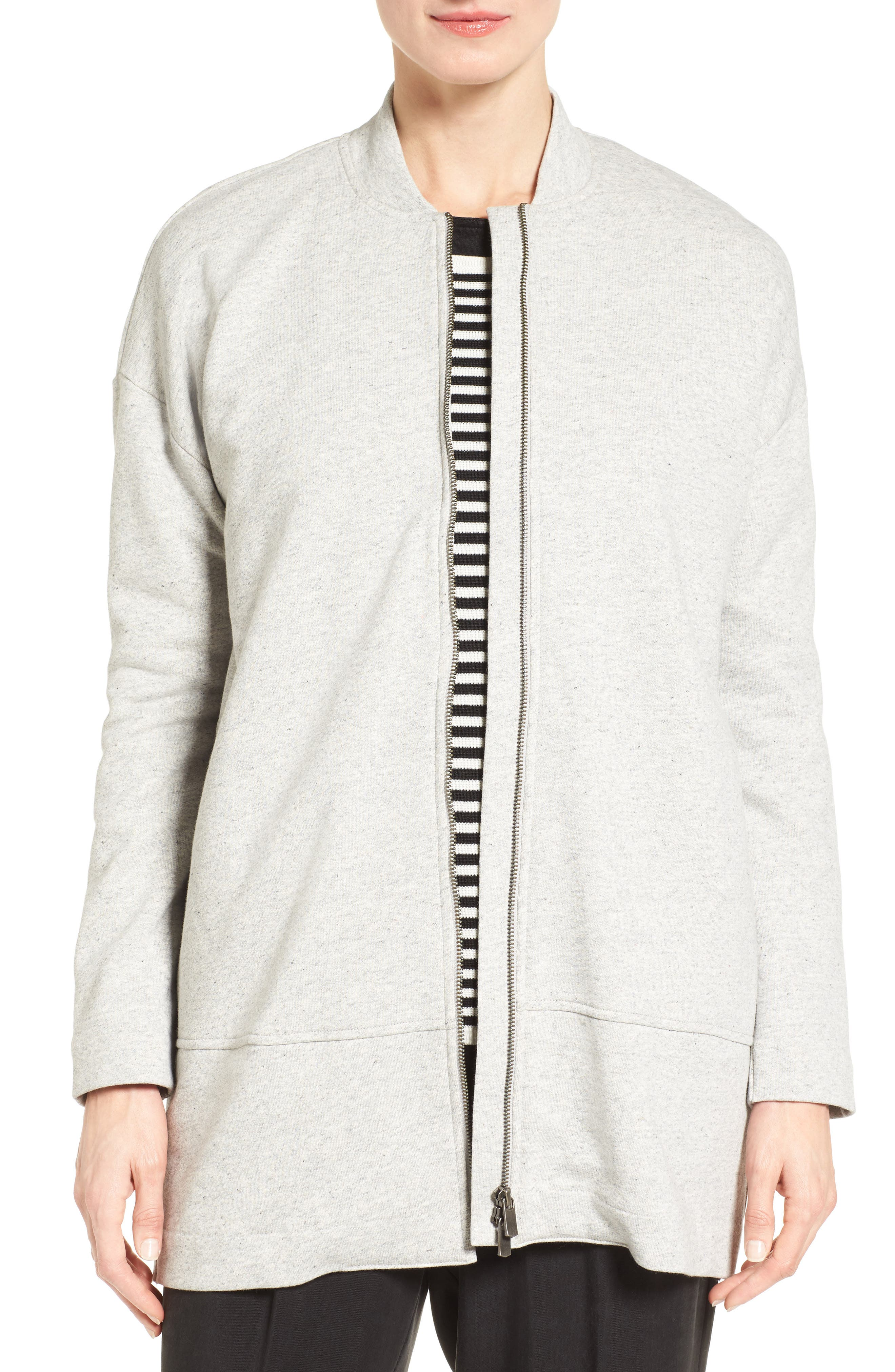 EILEEN FISHER, Brushed Back French Terry Jacket, Main thumbnail 1, color, DARK PEARL