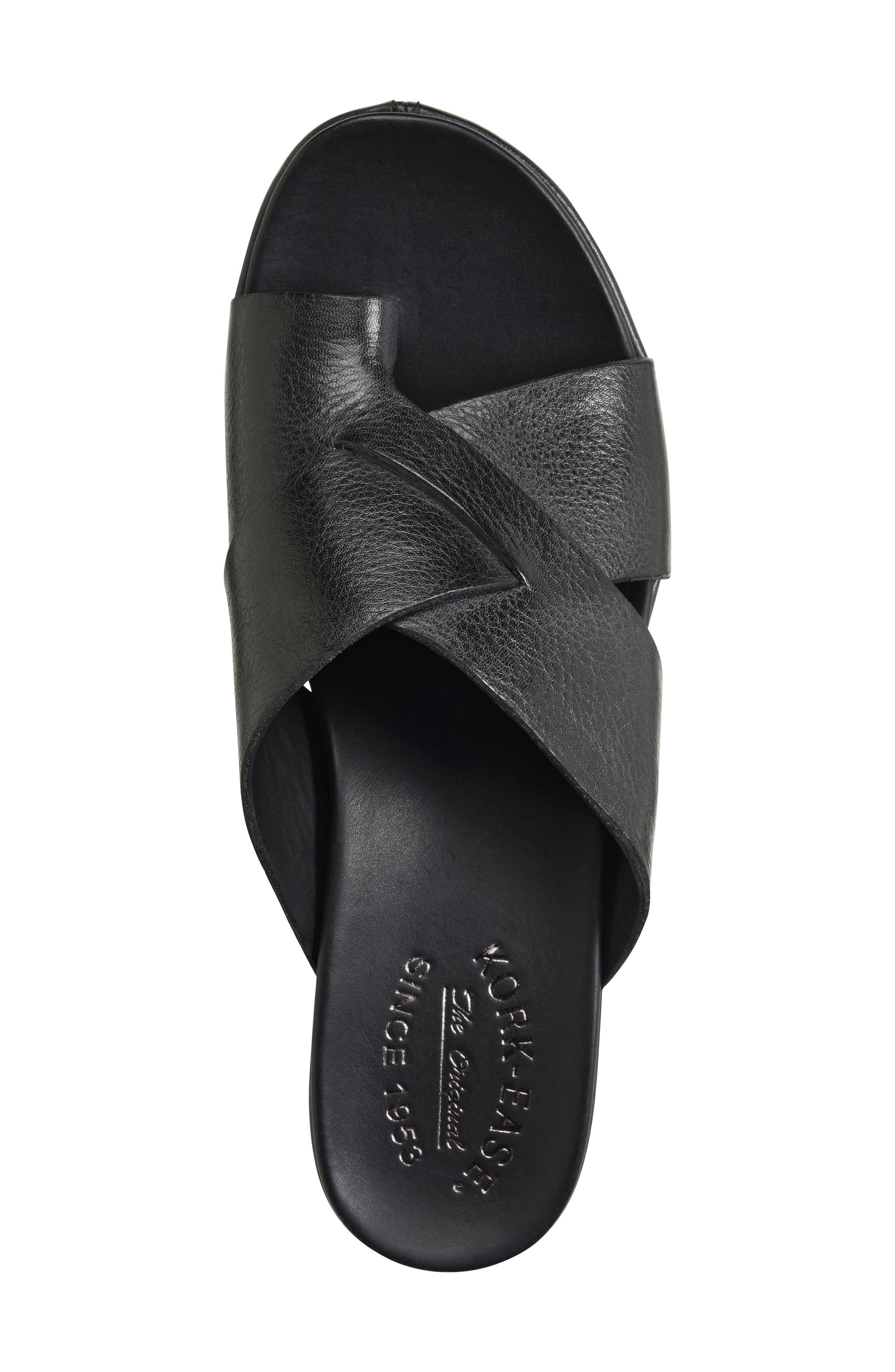 KORK-EASE<SUP>®</SUP>, Baja Sport Slide Sandal, Alternate thumbnail 5, color, BLACK LEATHER