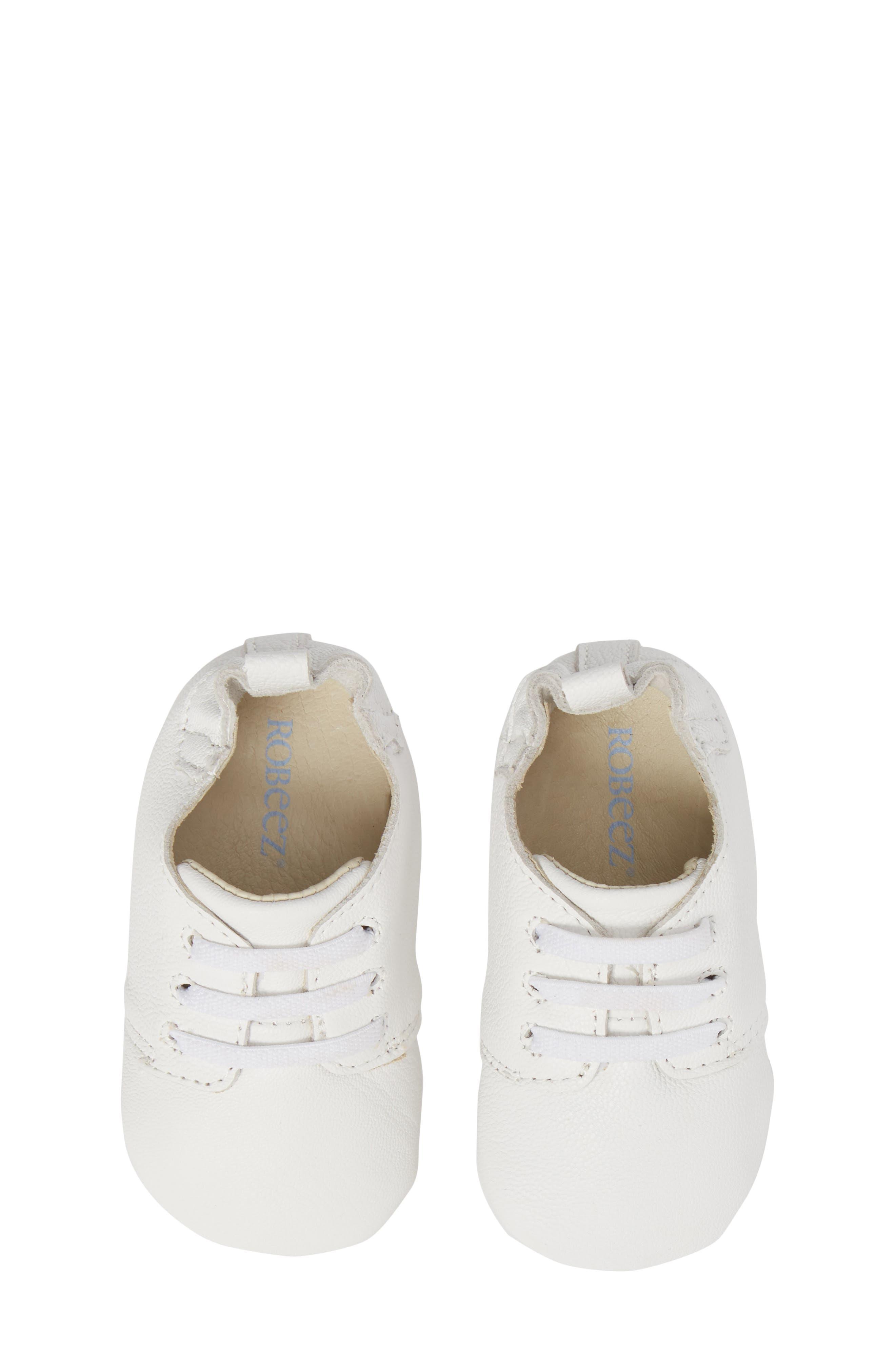 ROBEEZ<SUP>®</SUP>, Owen Oxford Crib Shoe, Alternate thumbnail 5, color, WHITE