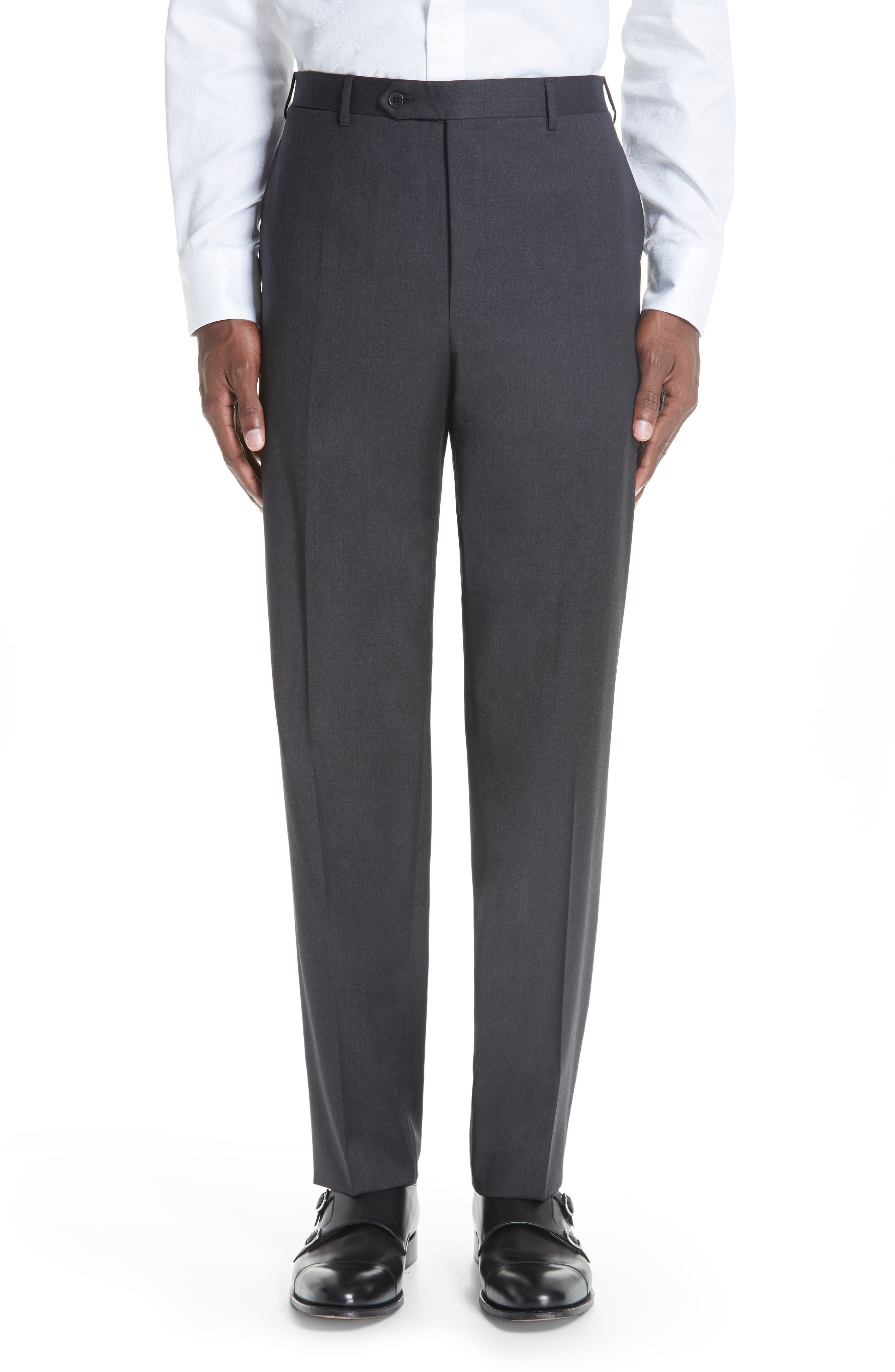 CANALI, Classic Fit Wool Suit, Alternate thumbnail 6, color, CHARCOAL