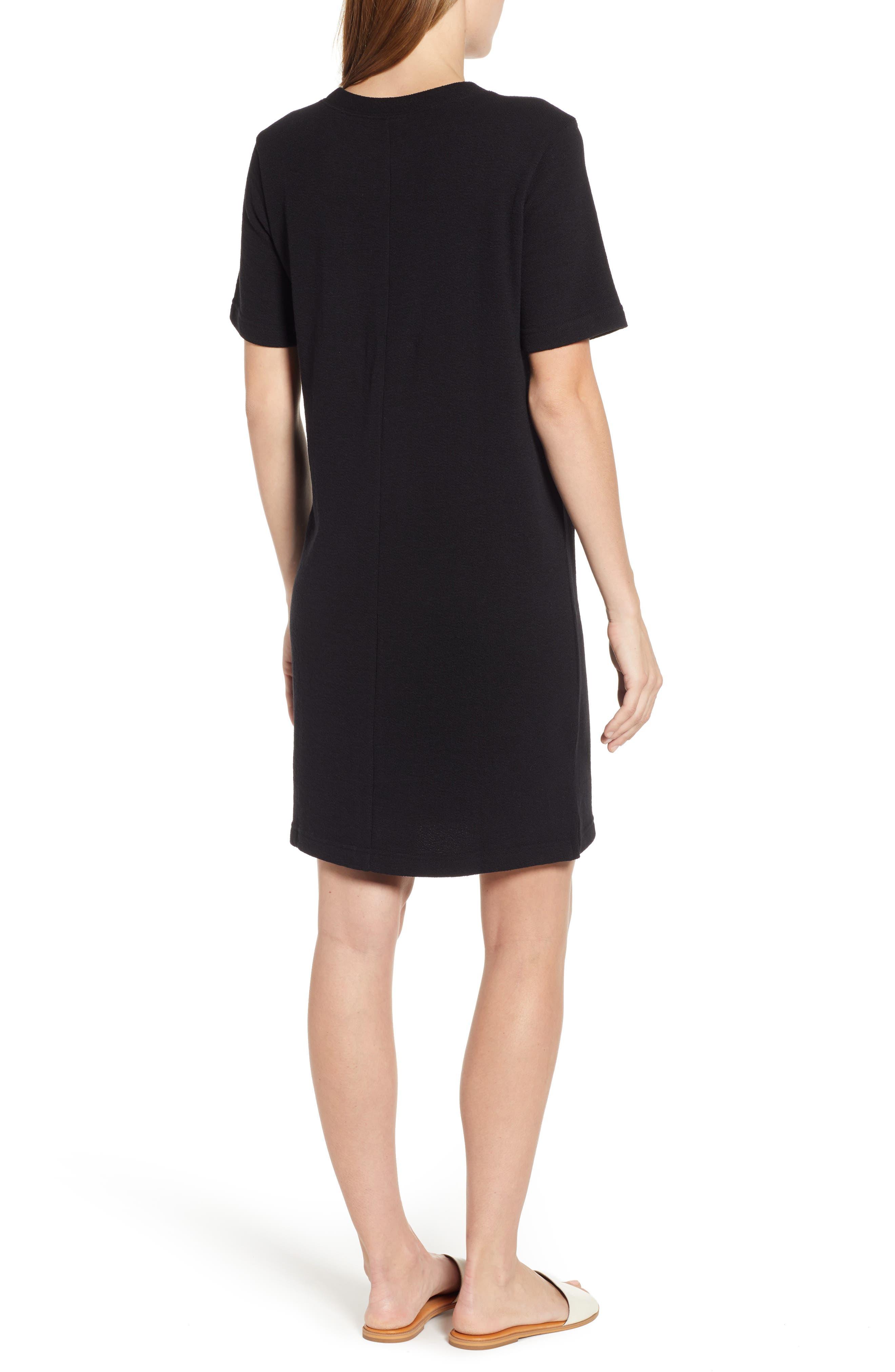 CASLON<SUP>®</SUP>, T-Shirt Dress, Alternate thumbnail 2, color, BLACK