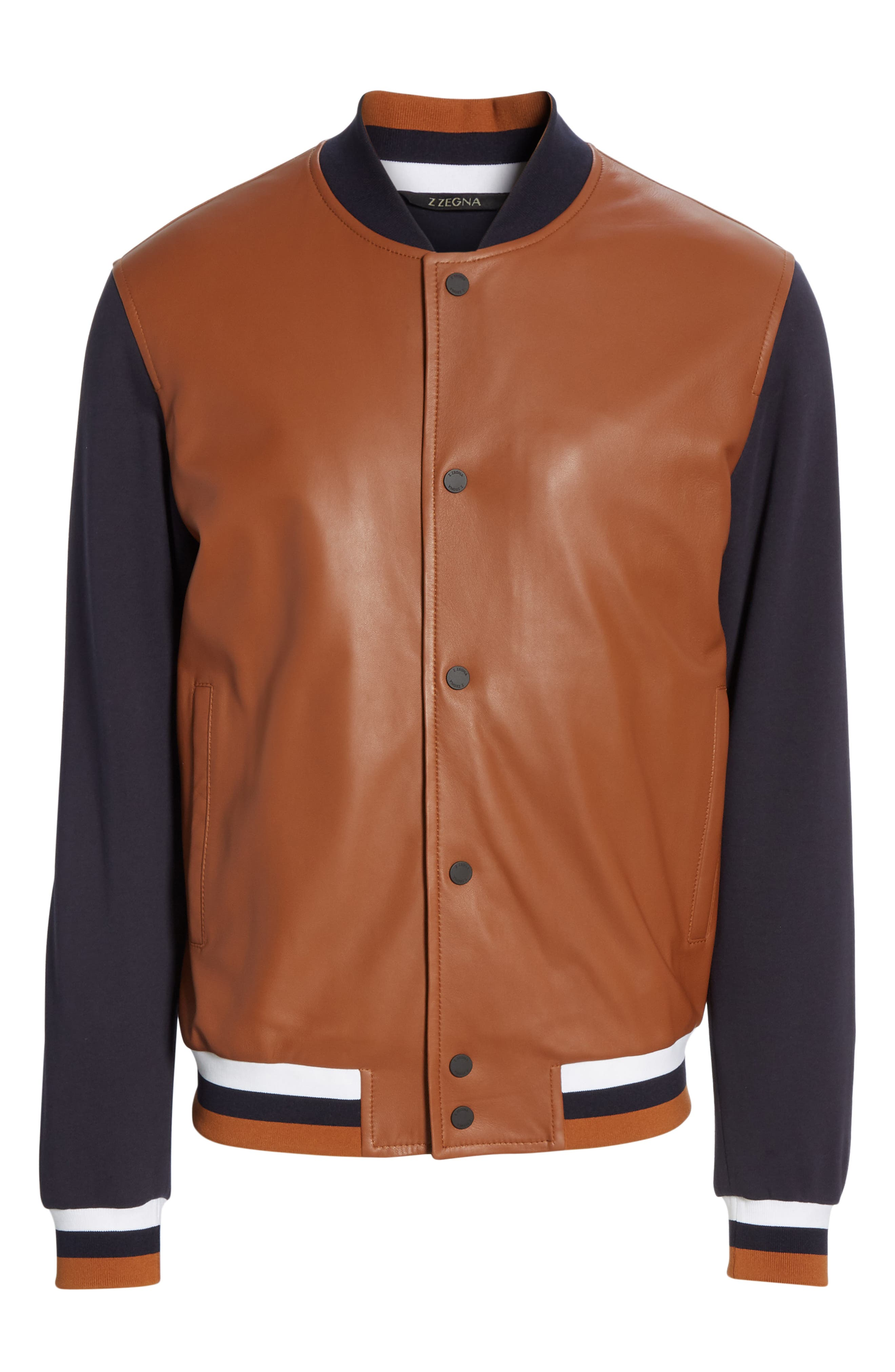 Z ZEGNA, Contrast Leather Bomber Jacket, Alternate thumbnail 5, color, NAVY/ BROWN