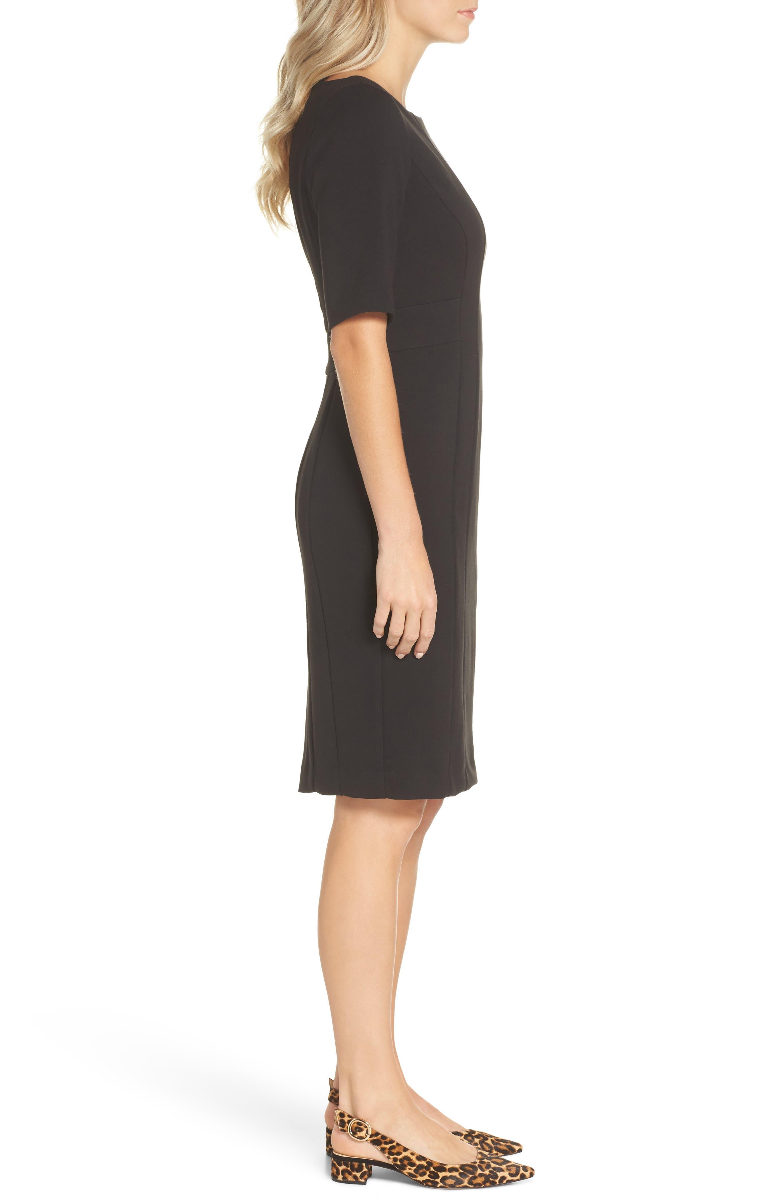 ELIZA J, Bateau Neck Crepe Sheath Dress, Alternate thumbnail 4, color, BLACK