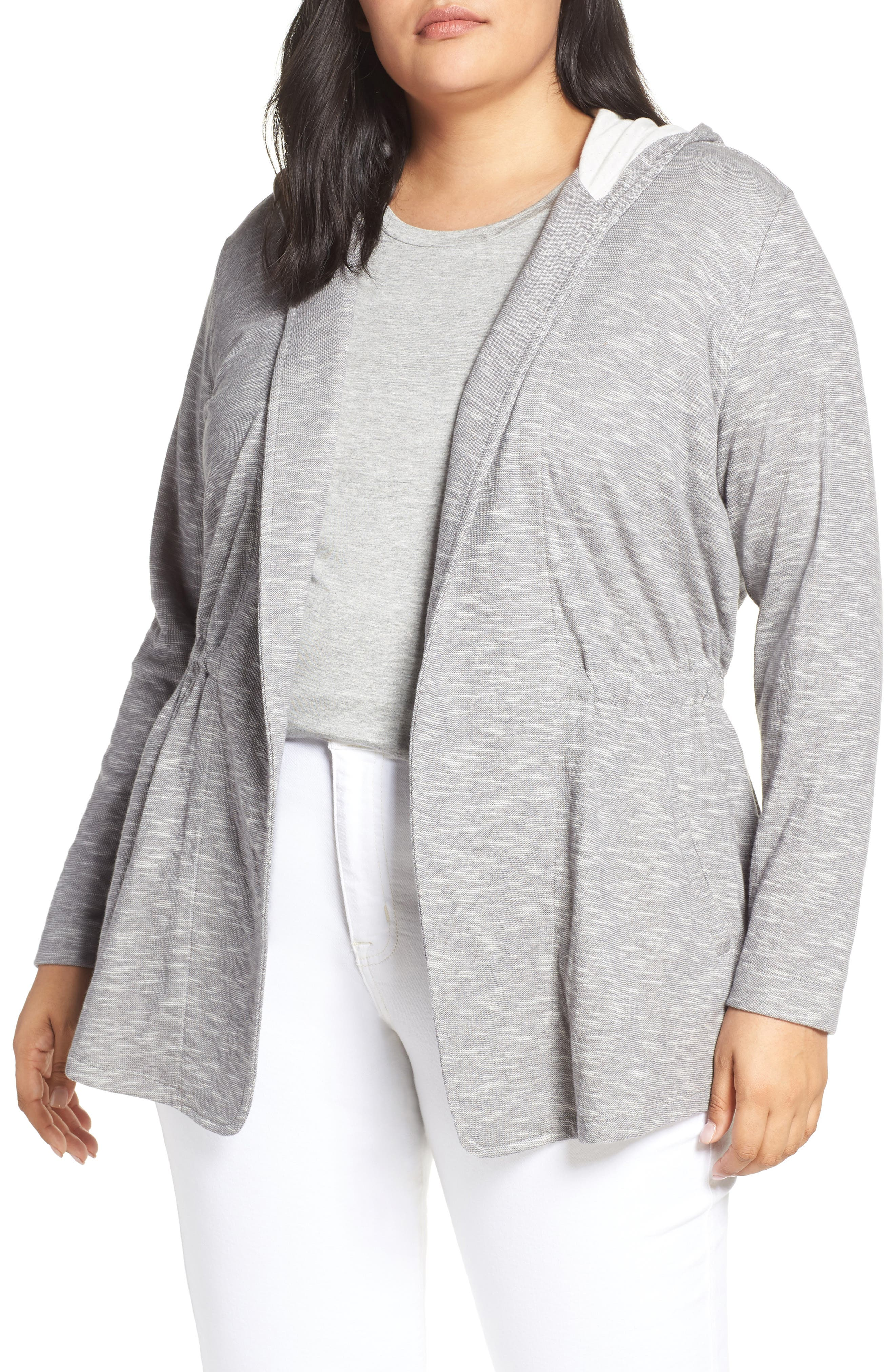 CASLON<SUP>®</SUP>, Open Front Hooded Cardigan, Main thumbnail 1, color, 030