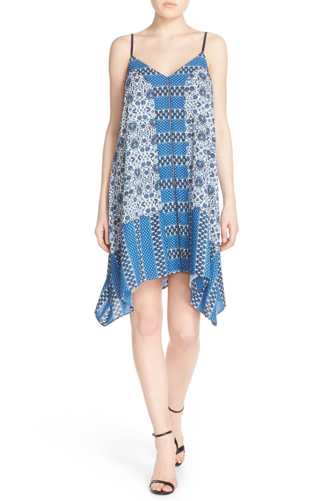 ADELYN RAE, Scarf Print Crepe Trapeze Dress, Alternate thumbnail 3, color, 400