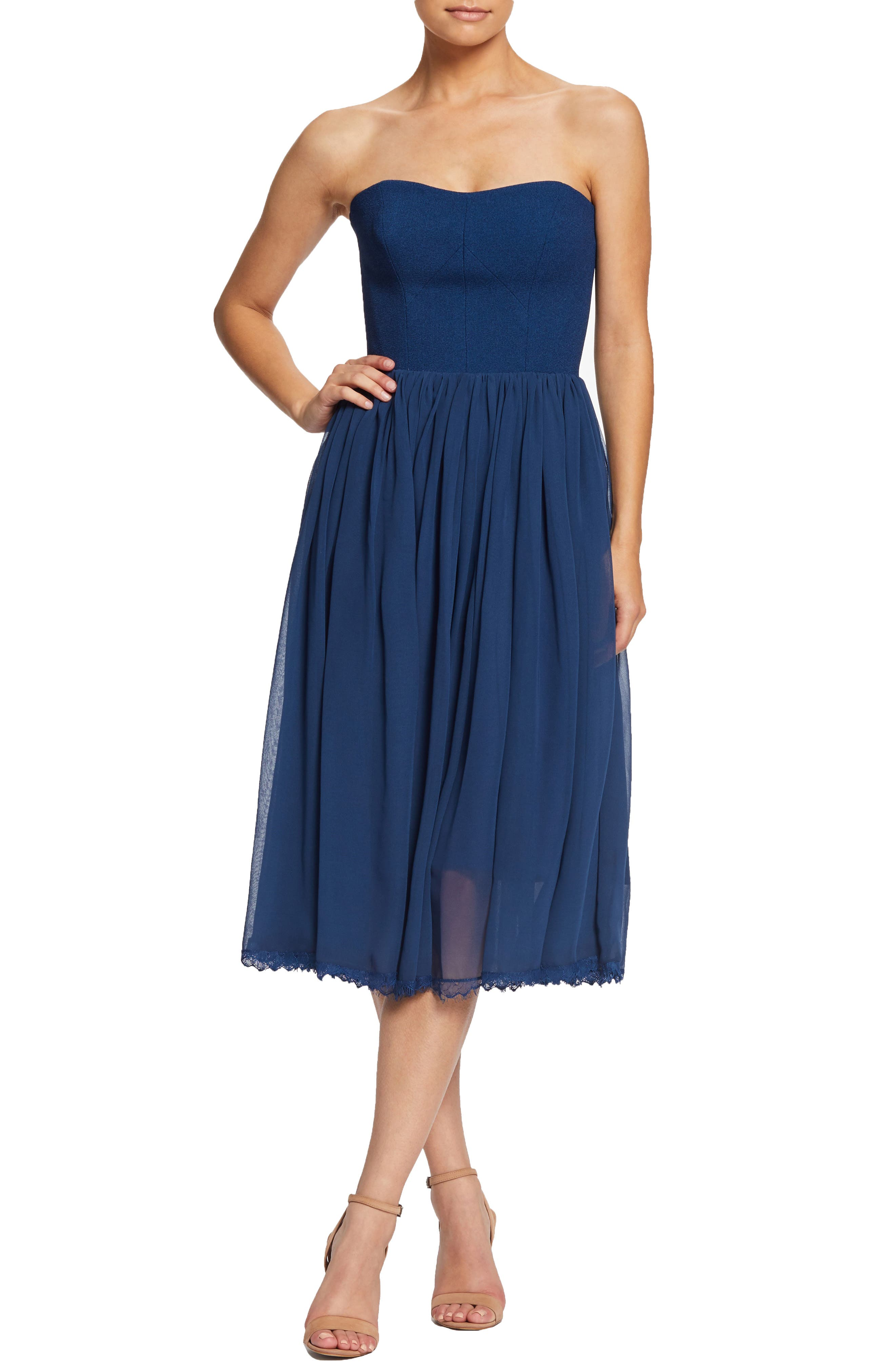 Dress The Population Willow Strapless Crepe Chiffon Cocktail Dress, Blue