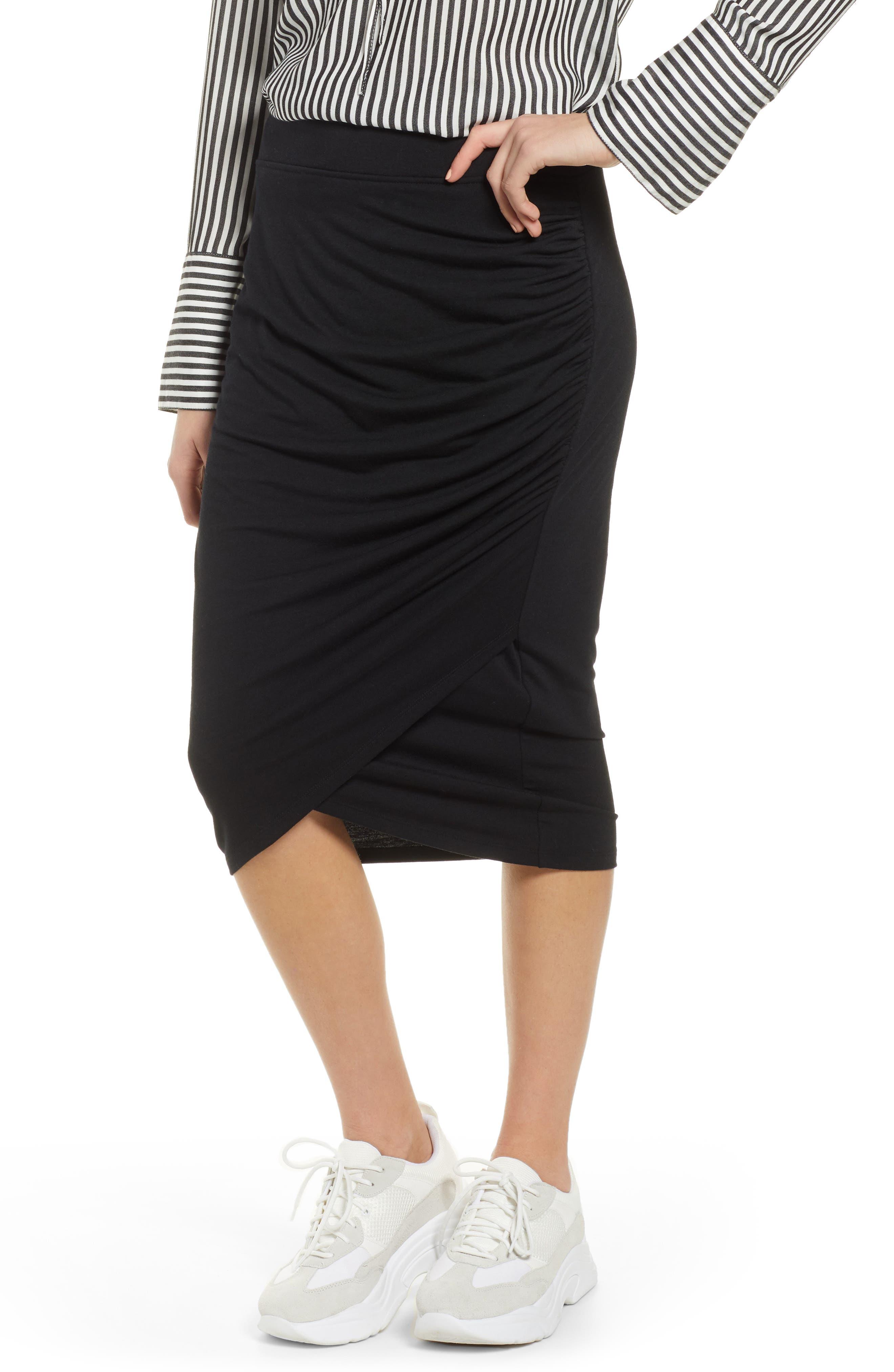 TREASURE & BOND, Shirred Side Midi Skirt, Main thumbnail 1, color, BLACK