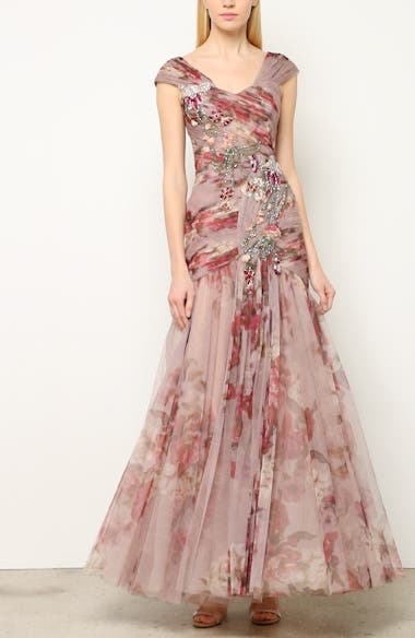 bb60e8e880 PatBO Bead Embellished Floral Print Off the Shoulder Gown | Nordstrom