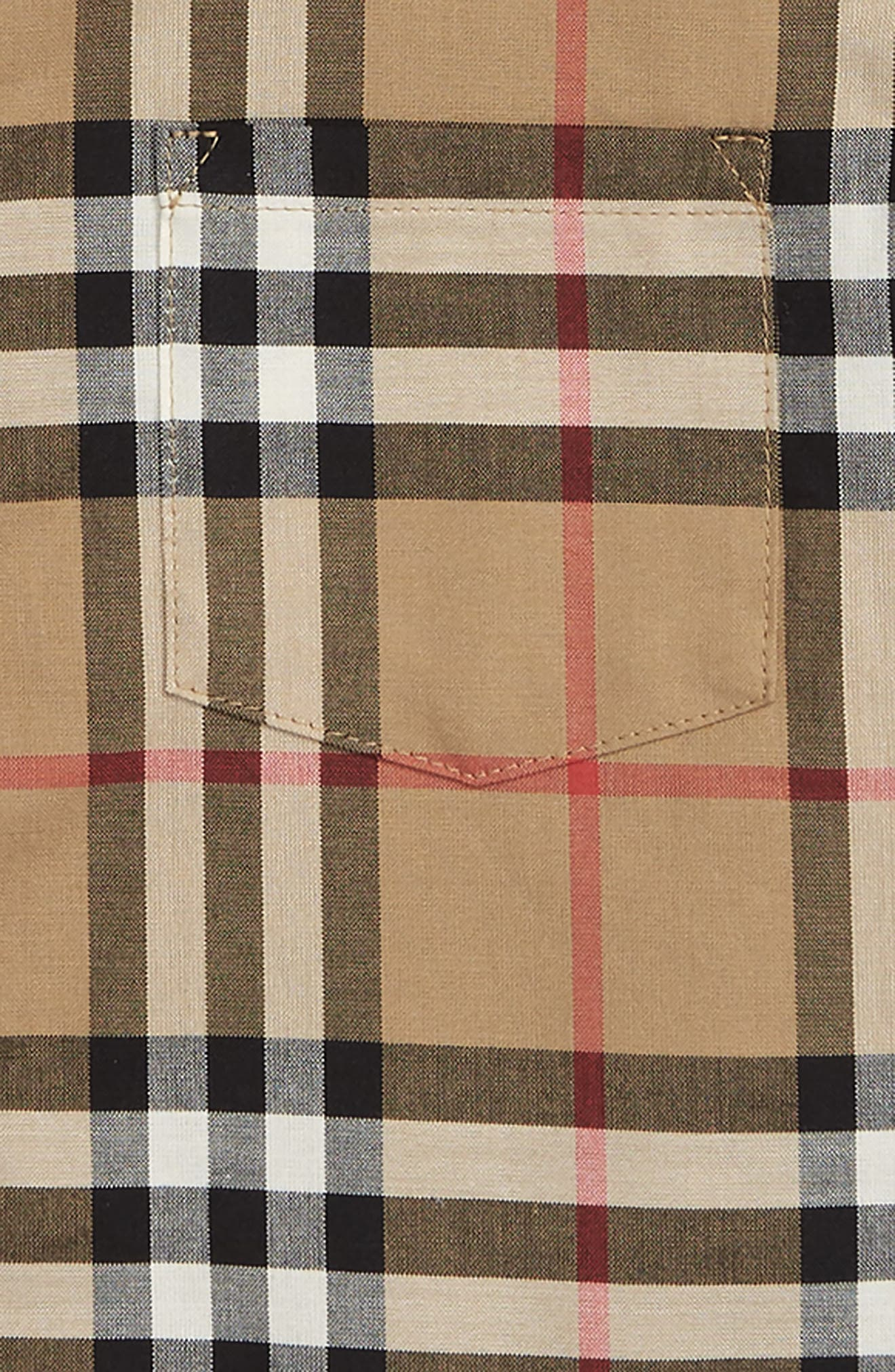 BURBERRY, Fred Check Woven Shirt, Alternate thumbnail 2, color, ANTIQUE YELLOW