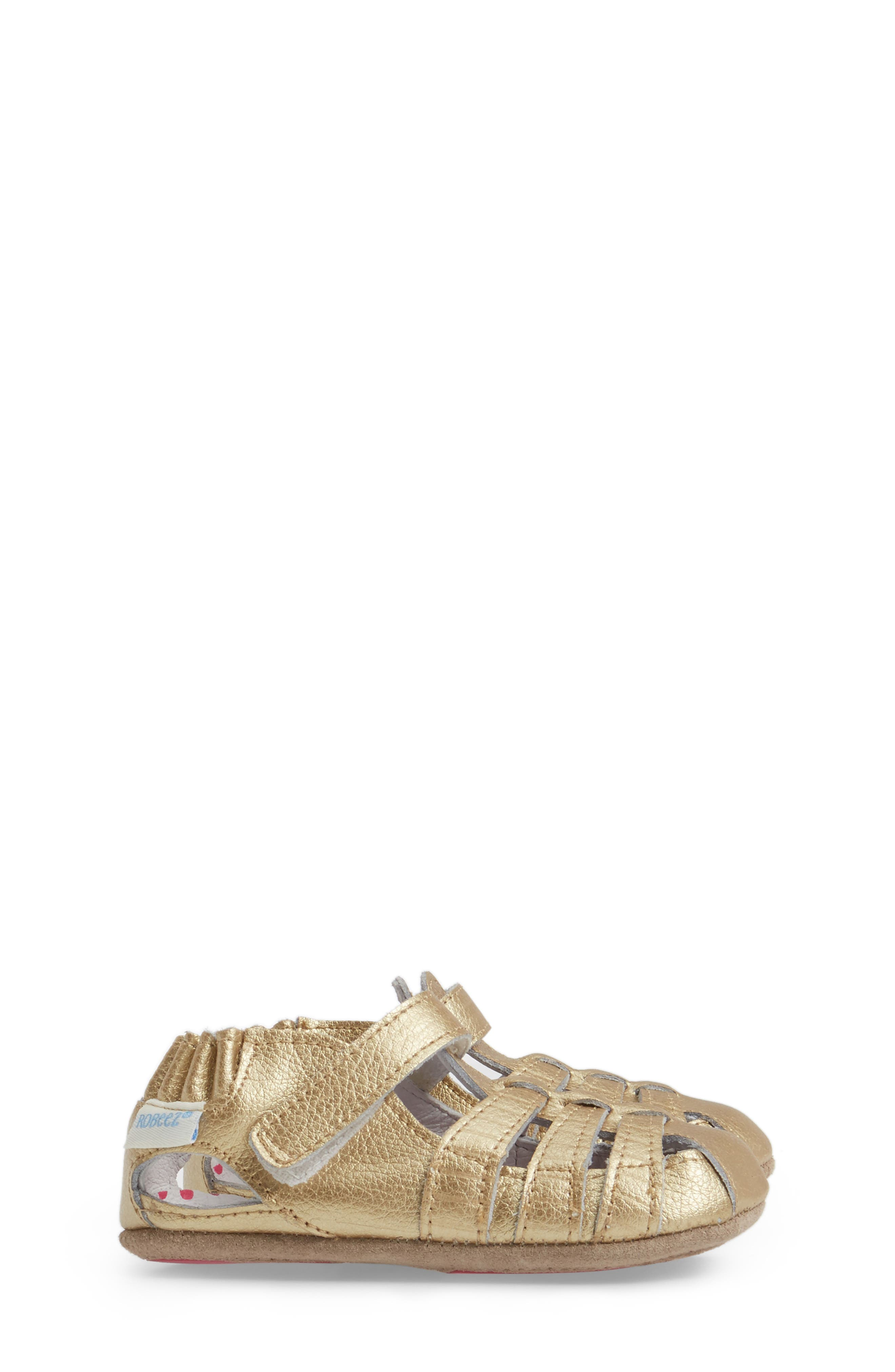 ROBEEZ<SUP>®</SUP>, Paris Crib Shoe, Alternate thumbnail 3, color, GOLD