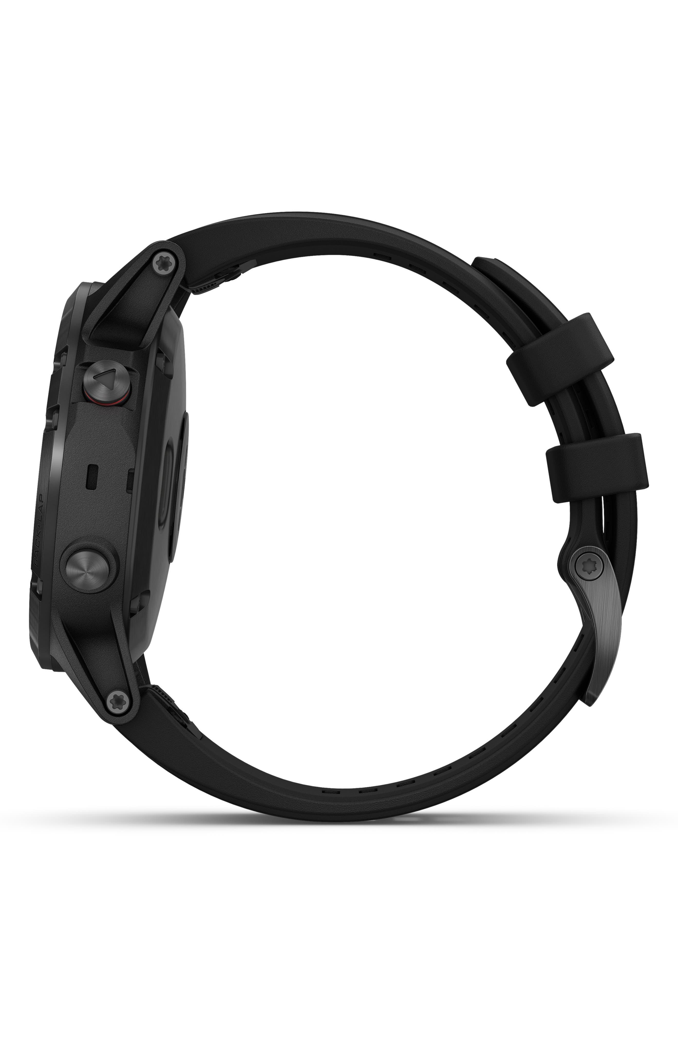 GARMIN, fenix<sup>®</sup> 5 Plus Sapphire Premium Multisport GPS Watch, 47mm, Alternate thumbnail 5, color, BLACK