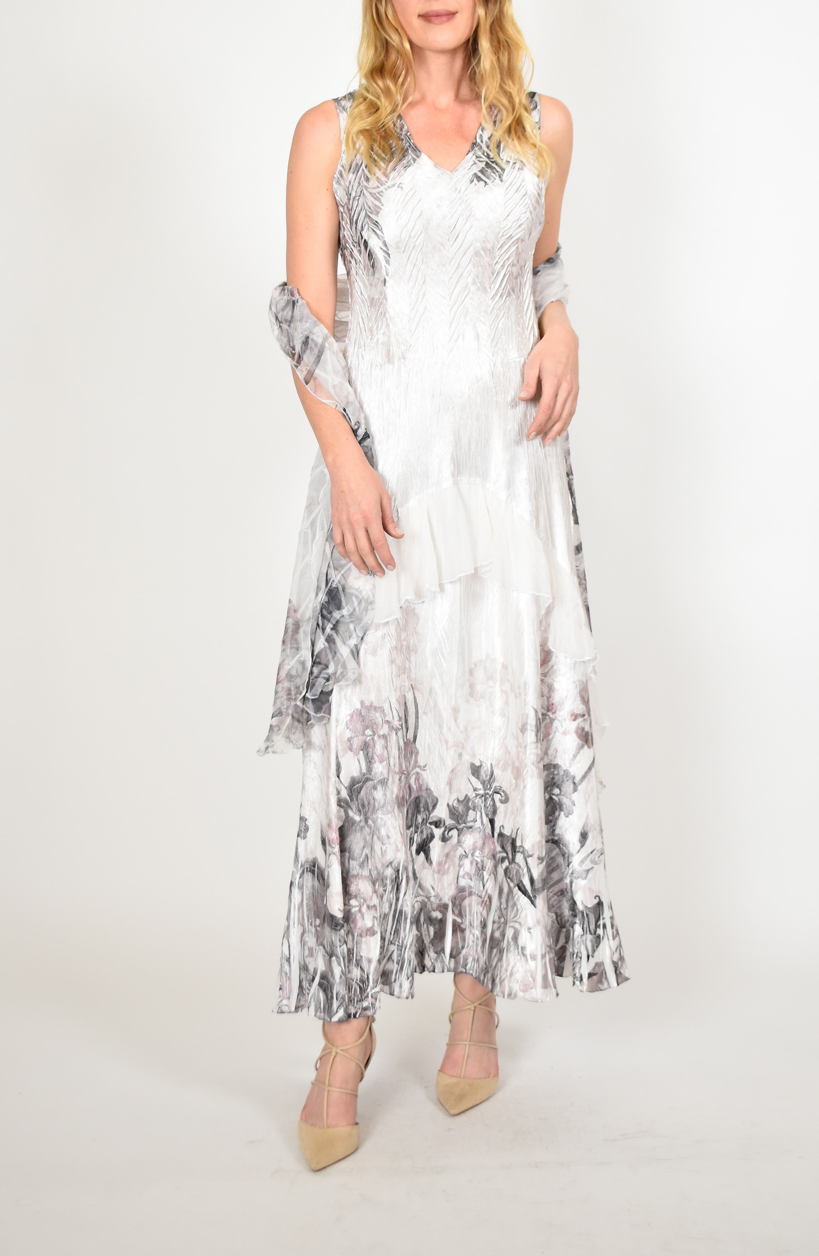 KOMAROV Charmeuse Dress with Wrap, Main, color, IRIS GARDEN