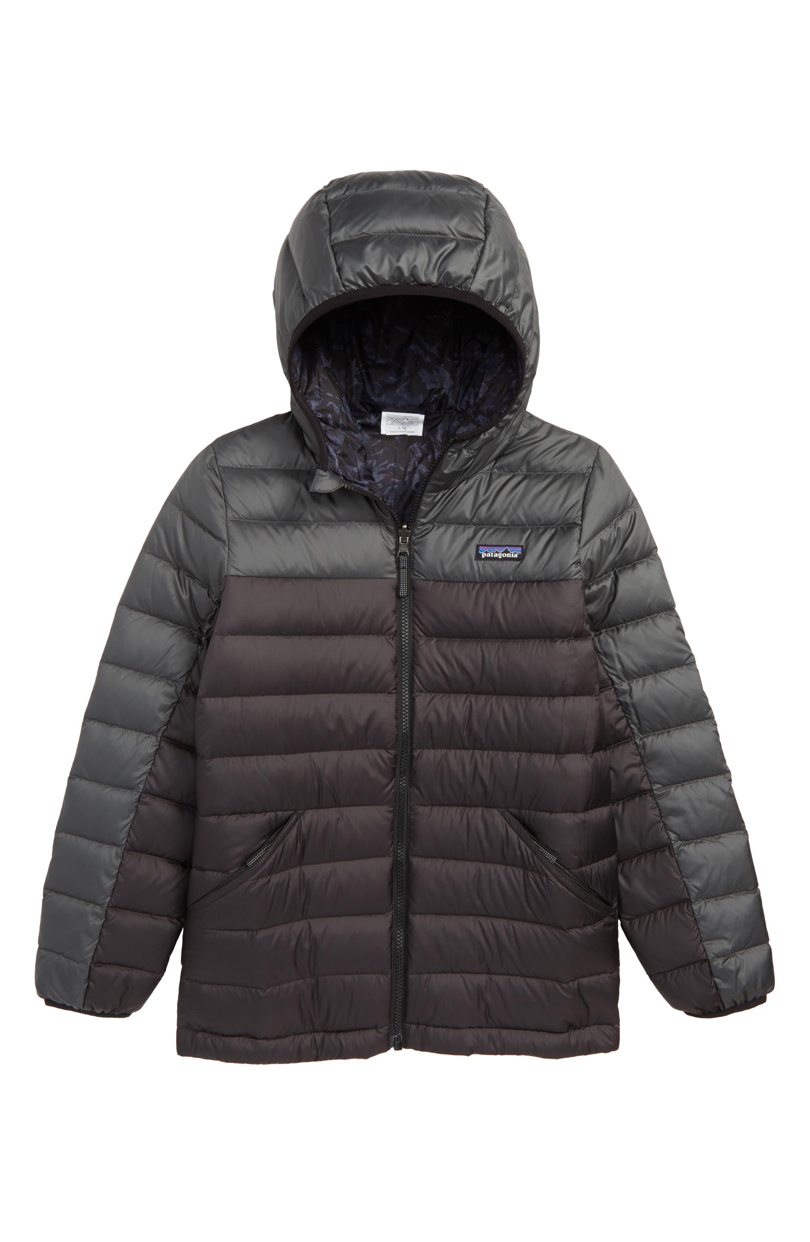 PATAGONIA, Water Repellent Reversible Down Sweater Hoodie, Main thumbnail 1, color, BLACK