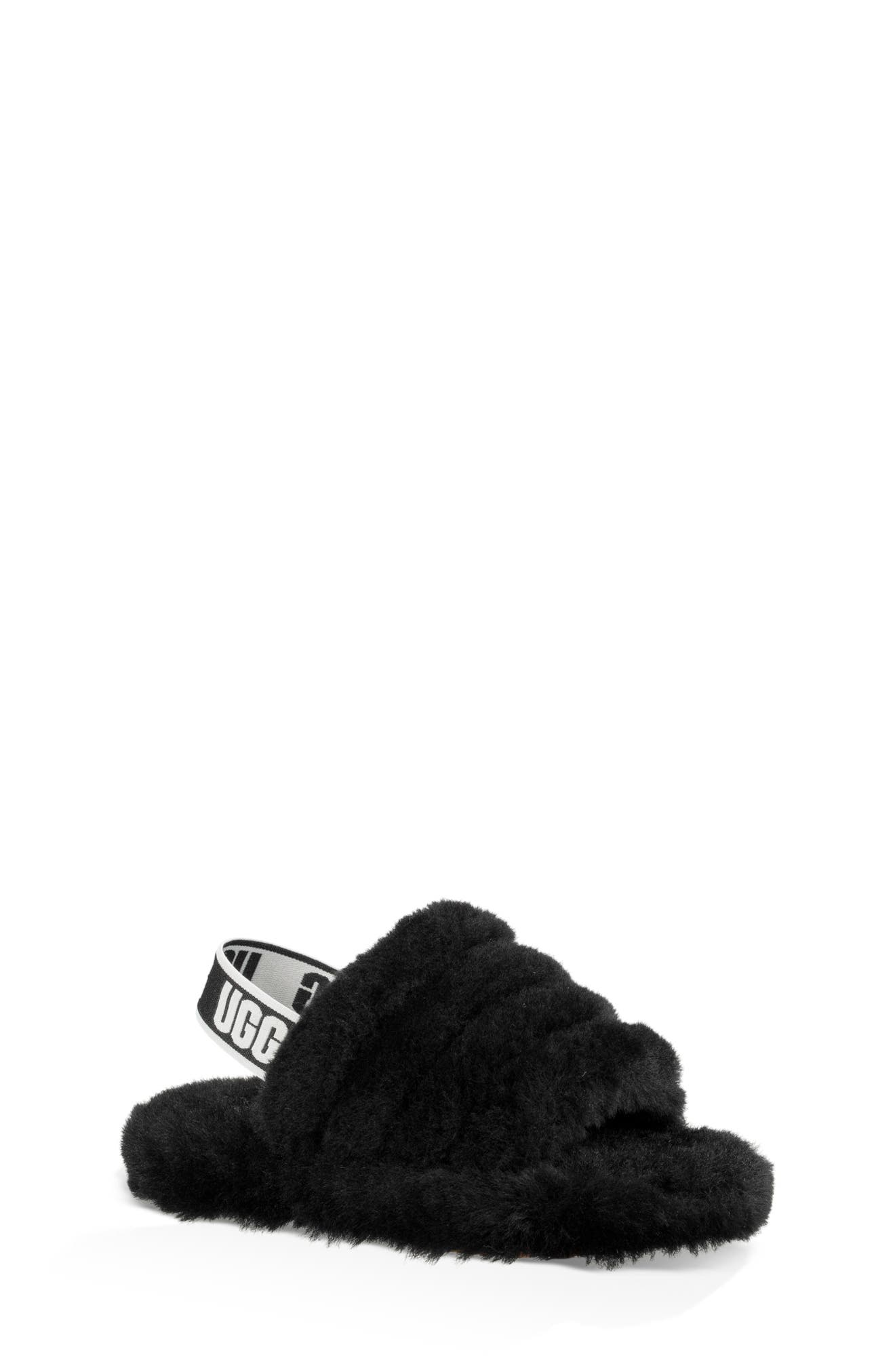 UGG<SUP>®</SUP>, Fluff Yeah Genuine Shearling Slide Sandal, Main thumbnail 1, color, BLACK