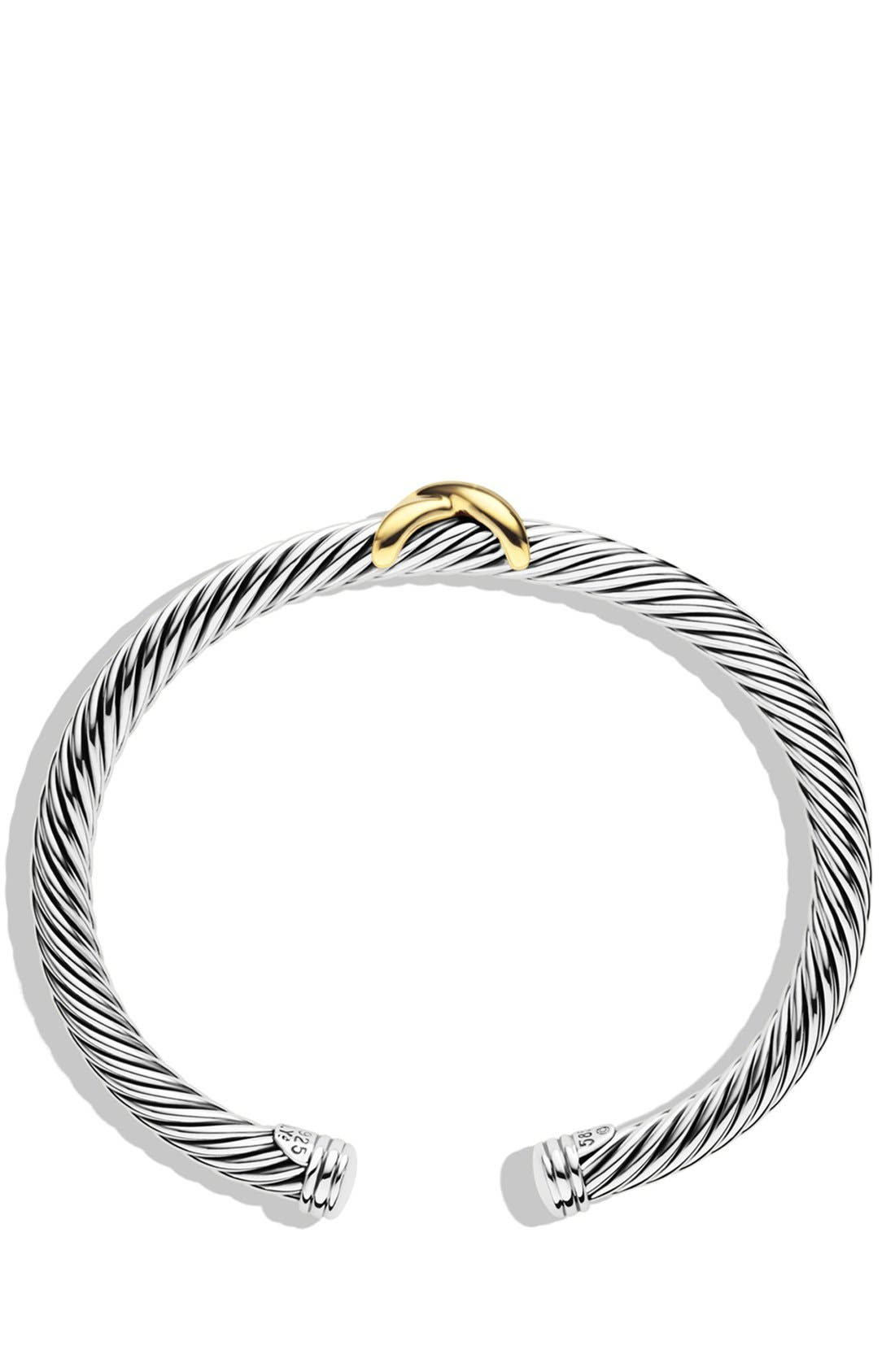 DAVID YURMAN, 'X' Bracelet with Gold, Alternate thumbnail 4, color, TWO TONE