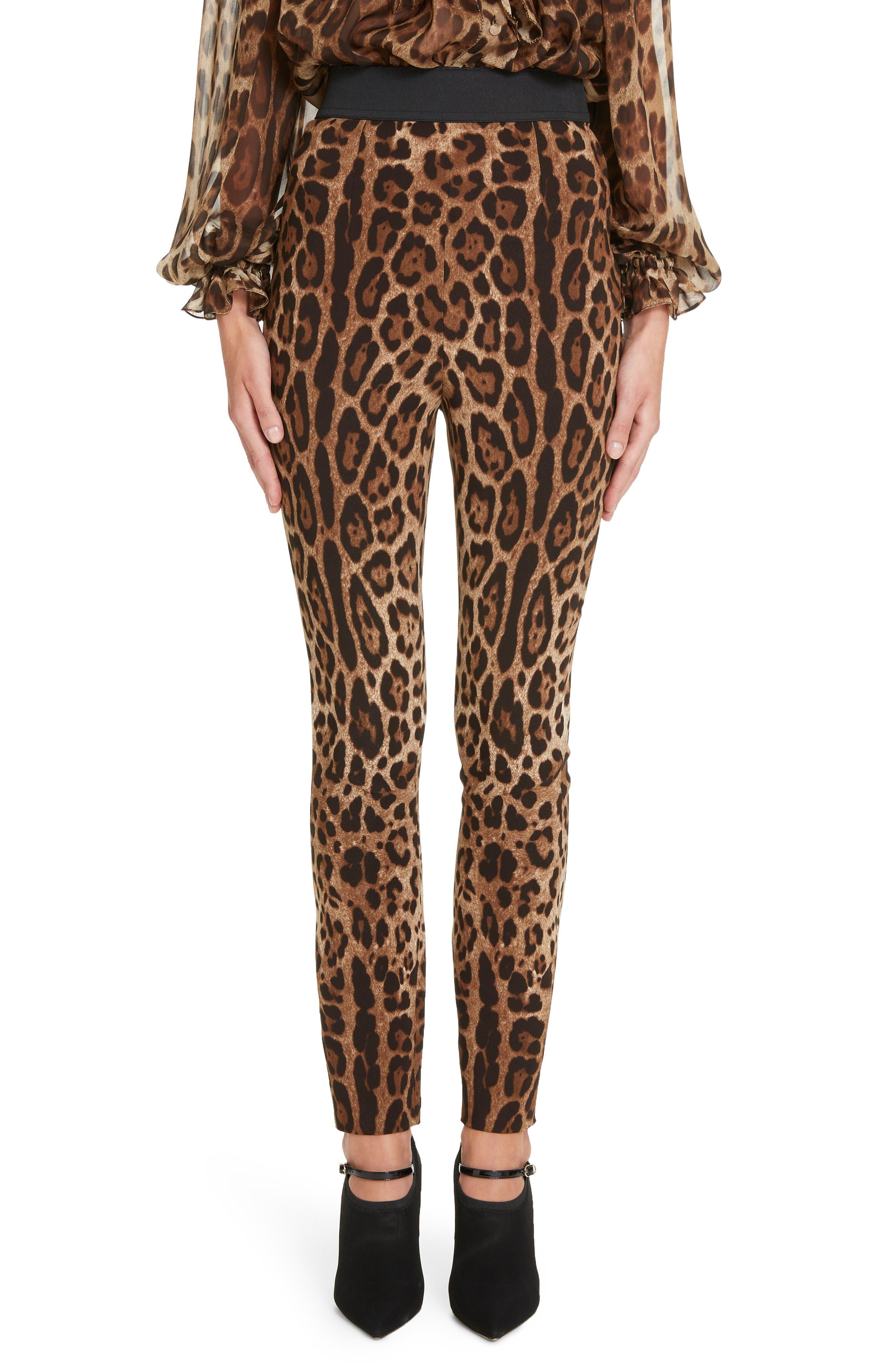 DOLCE&GABBANA, Leopard Print Cady Leggings, Main thumbnail 1, color, LEO