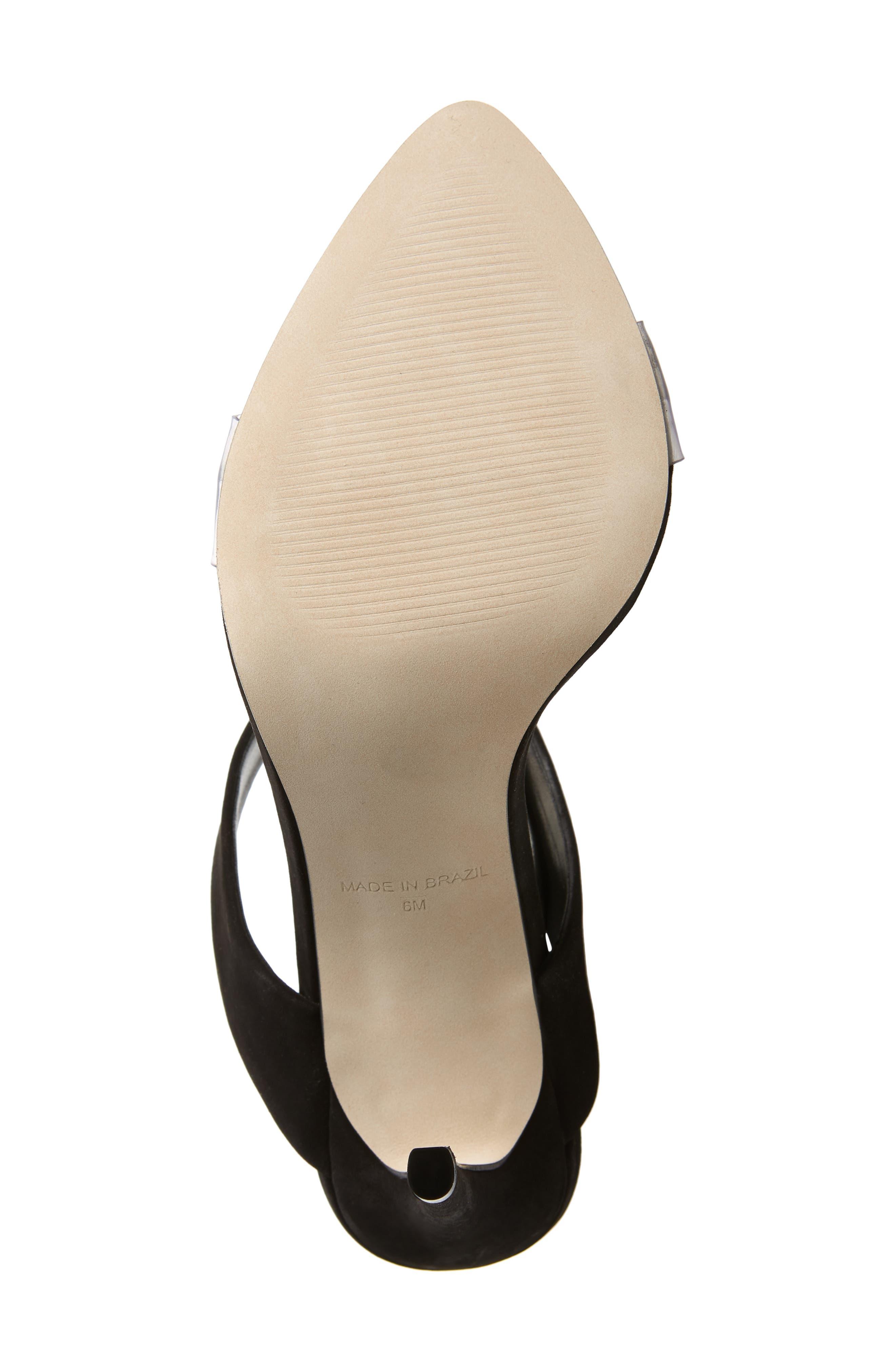 STEVE MADDEN, Amaya Clear Slide Sandal, Alternate thumbnail 6, color, BLACK NUBUCK LEATHER