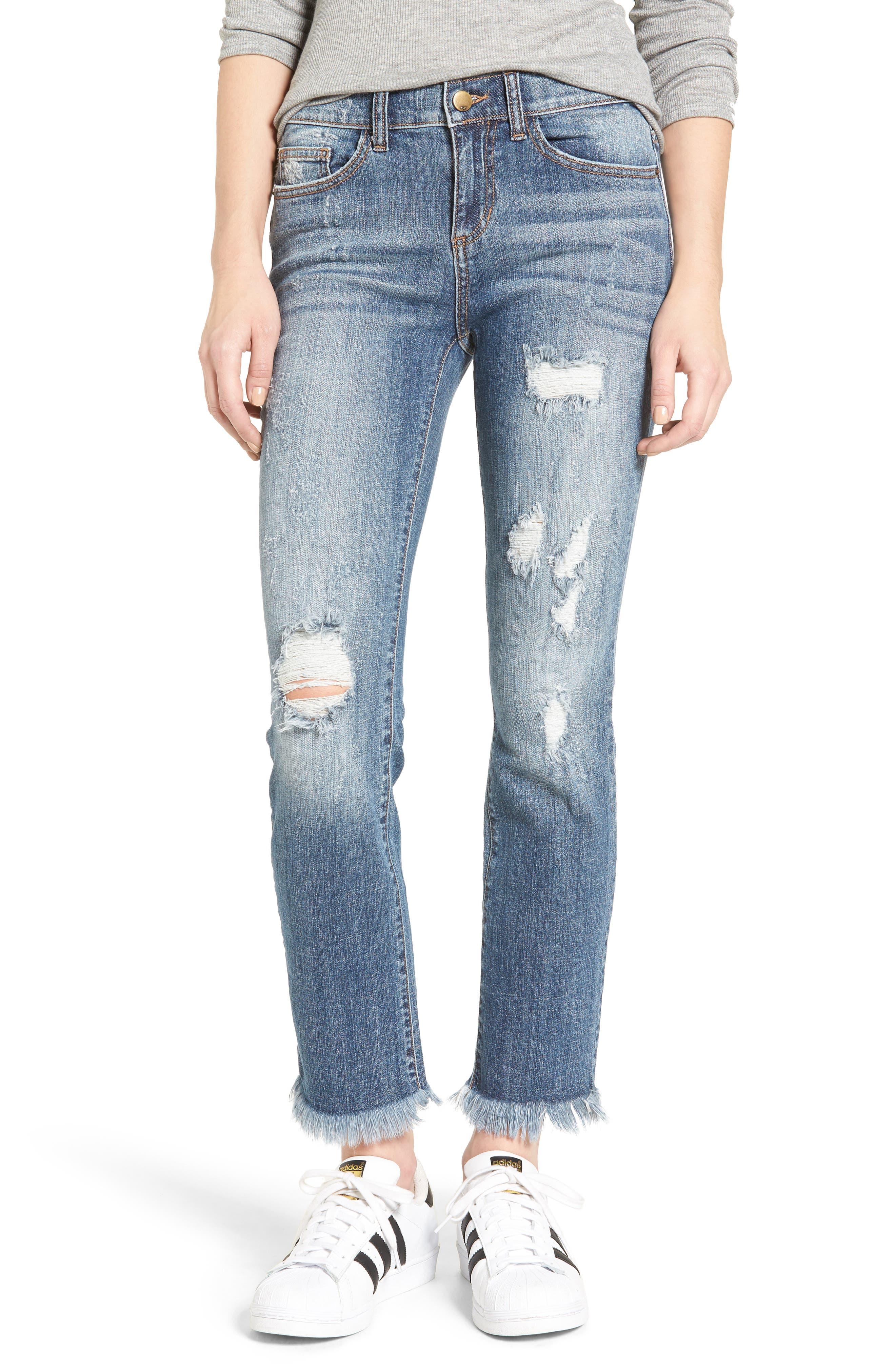 SP BLACK Destroyed Frayed Hem Jeans, Main, color, 400