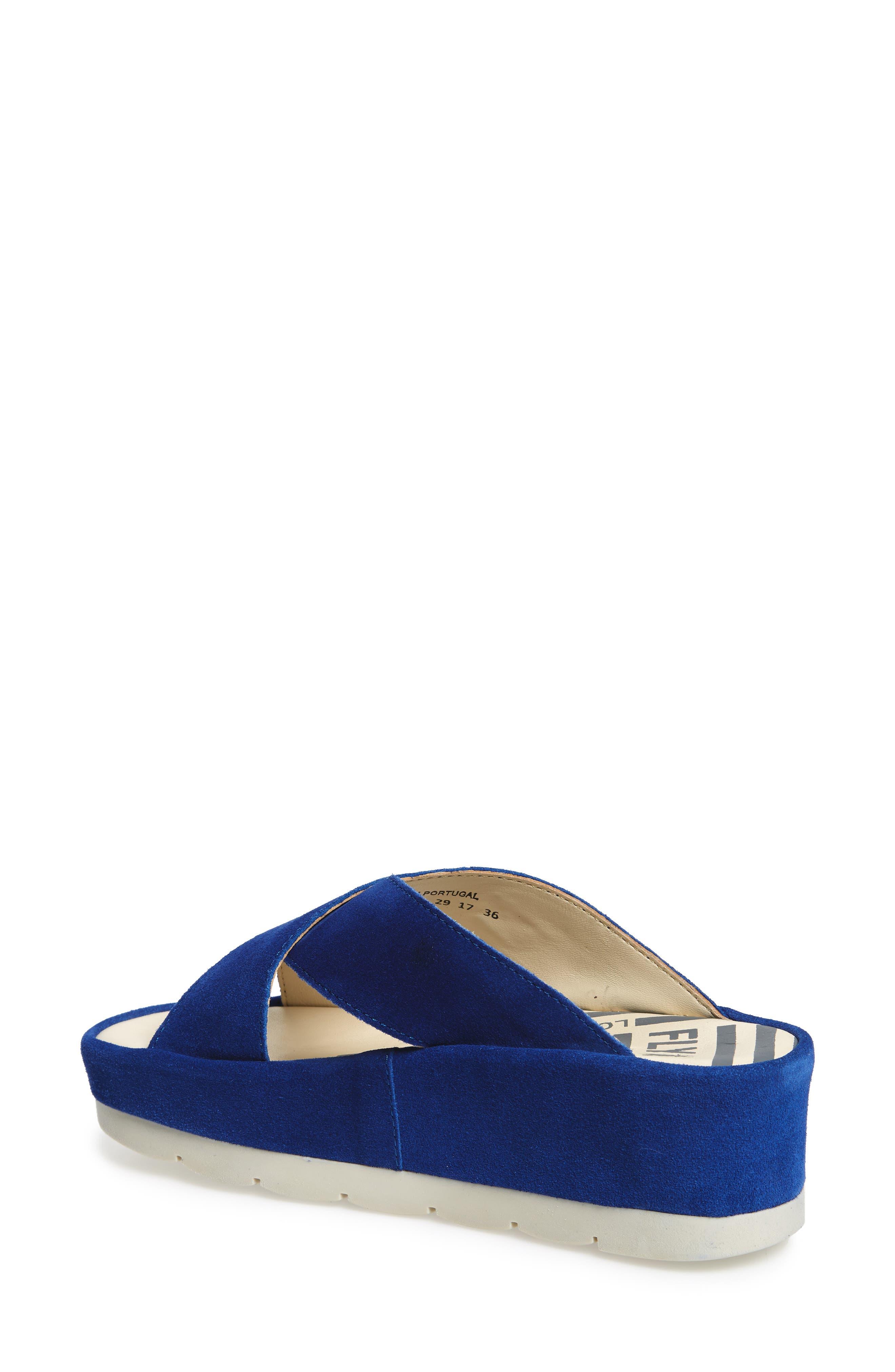 FLY LONDON, Begs Platform Slide Sandal, Alternate thumbnail 2, color, BLUE SUEDE