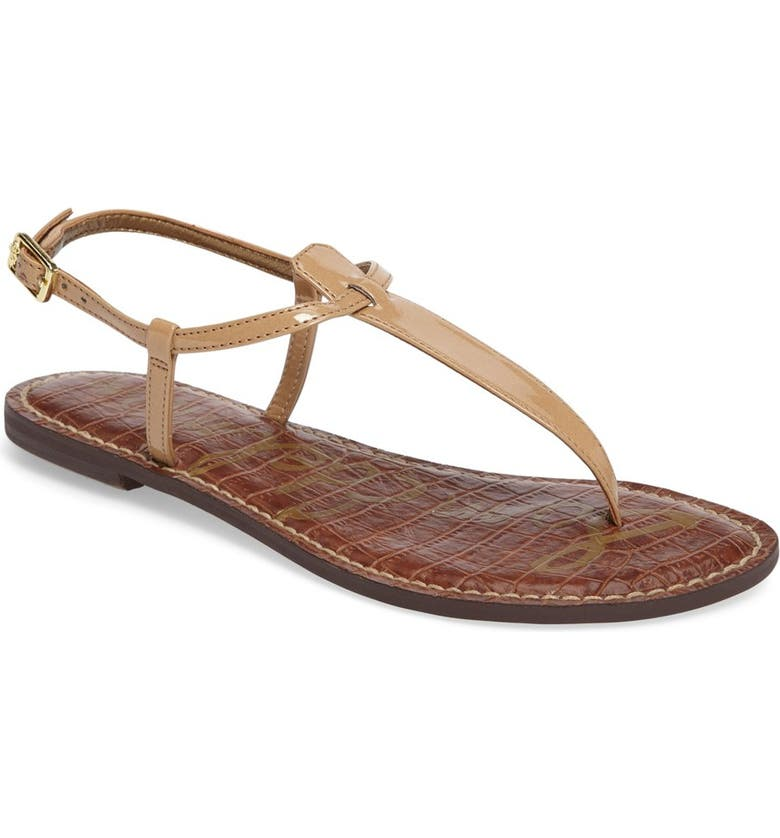 38f18ce9d95 Sam Edelman Gigi Patent Leather Flat Thong Sandal In Almond ...