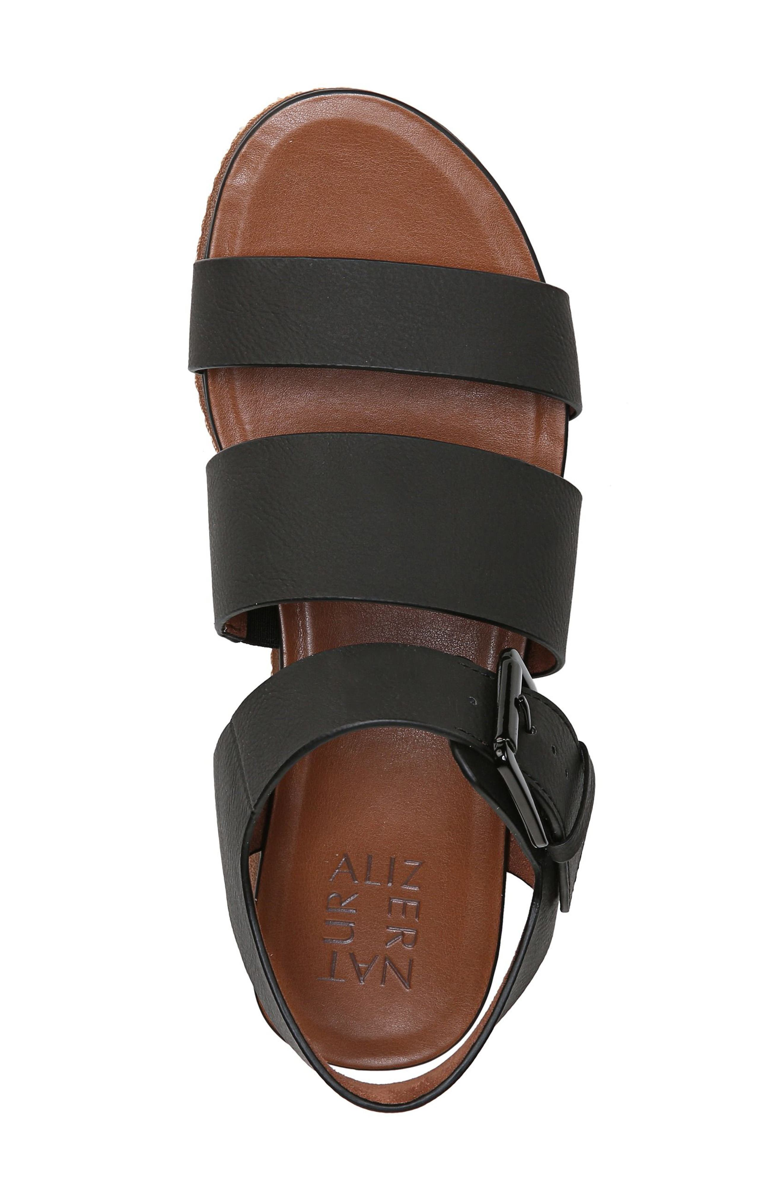 NATURALIZER, Billie Platform Sandal, Alternate thumbnail 5, color, BLACK FAUX NUBUCK LEATHER