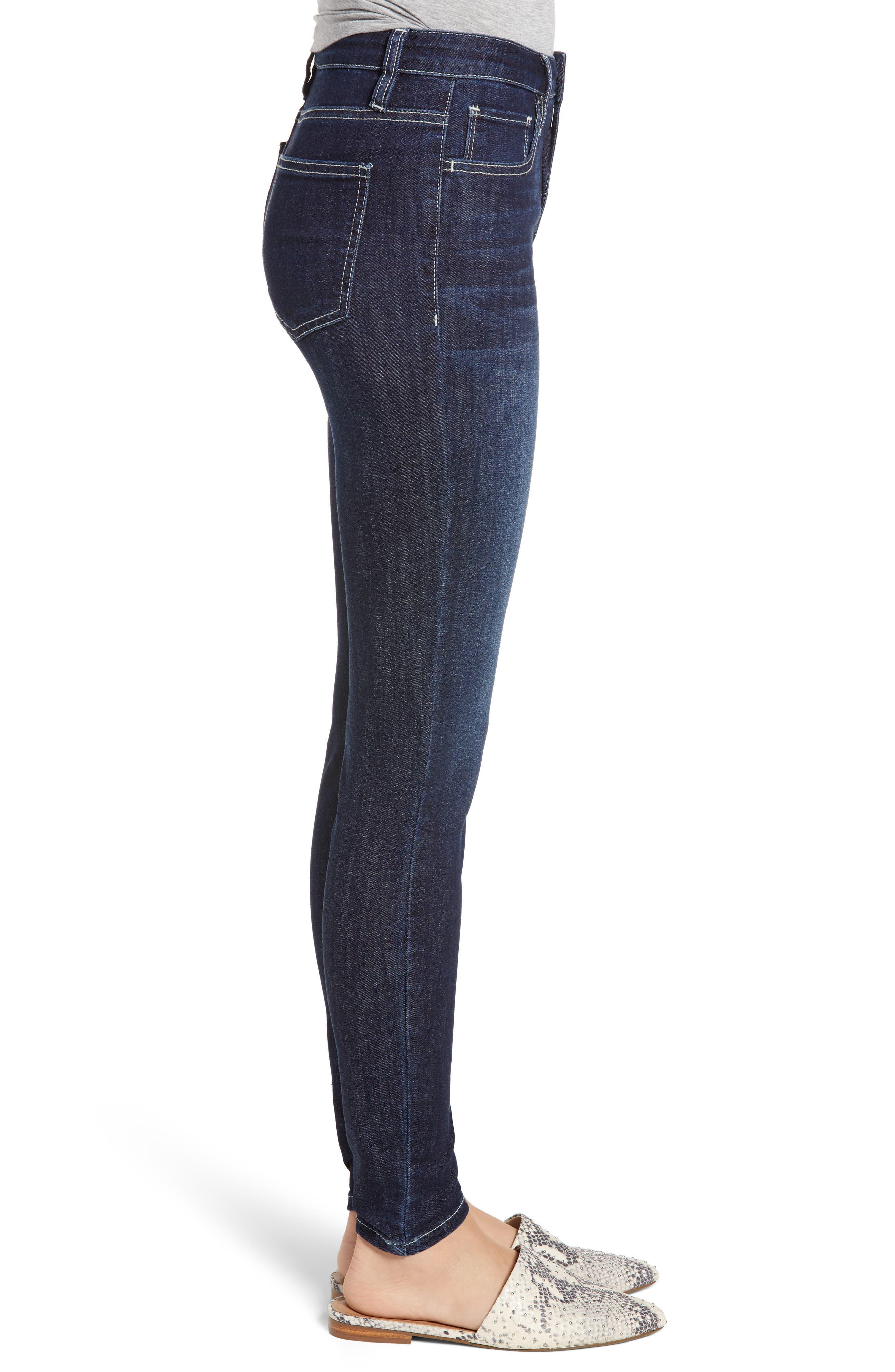 PROSPERITY DENIM, Contrast Stitch Skinny Jeans, Alternate thumbnail 3, color, DARK WASH