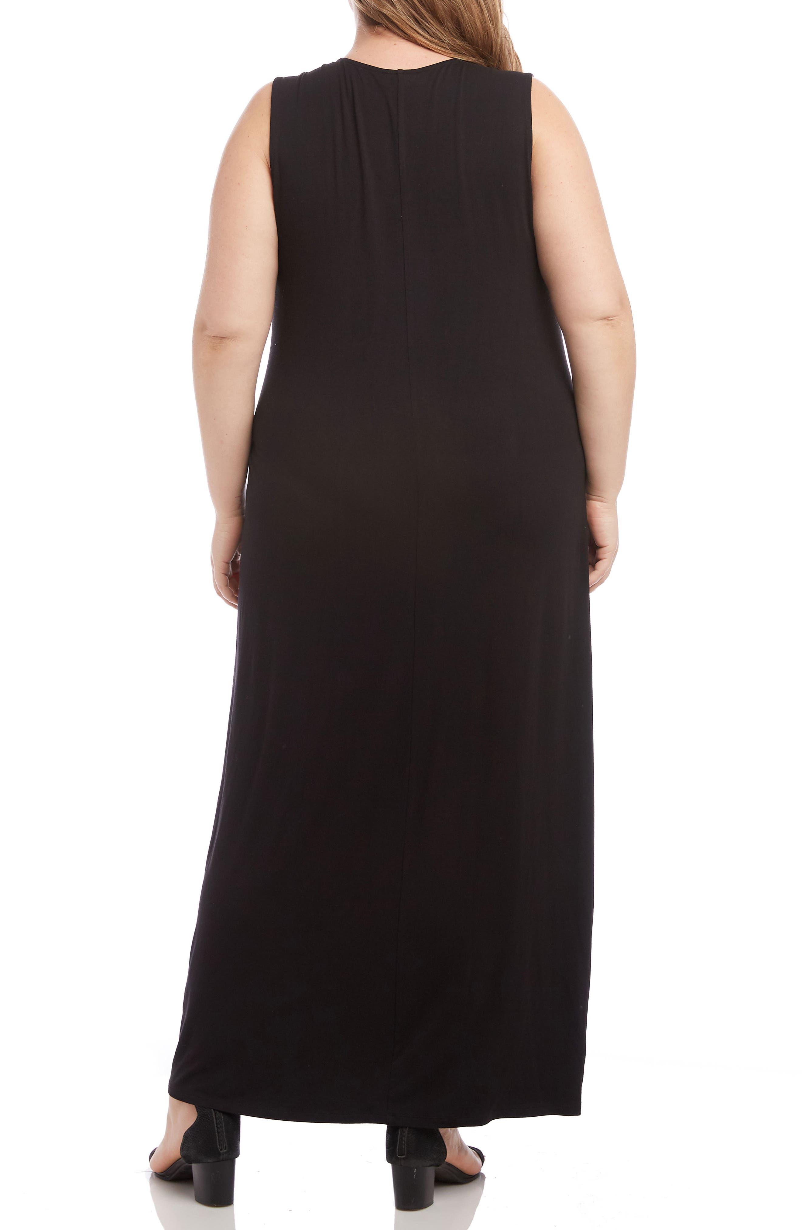 KAREN KANE, Embroidered Maxi Dress, Alternate thumbnail 2, color, BLACK