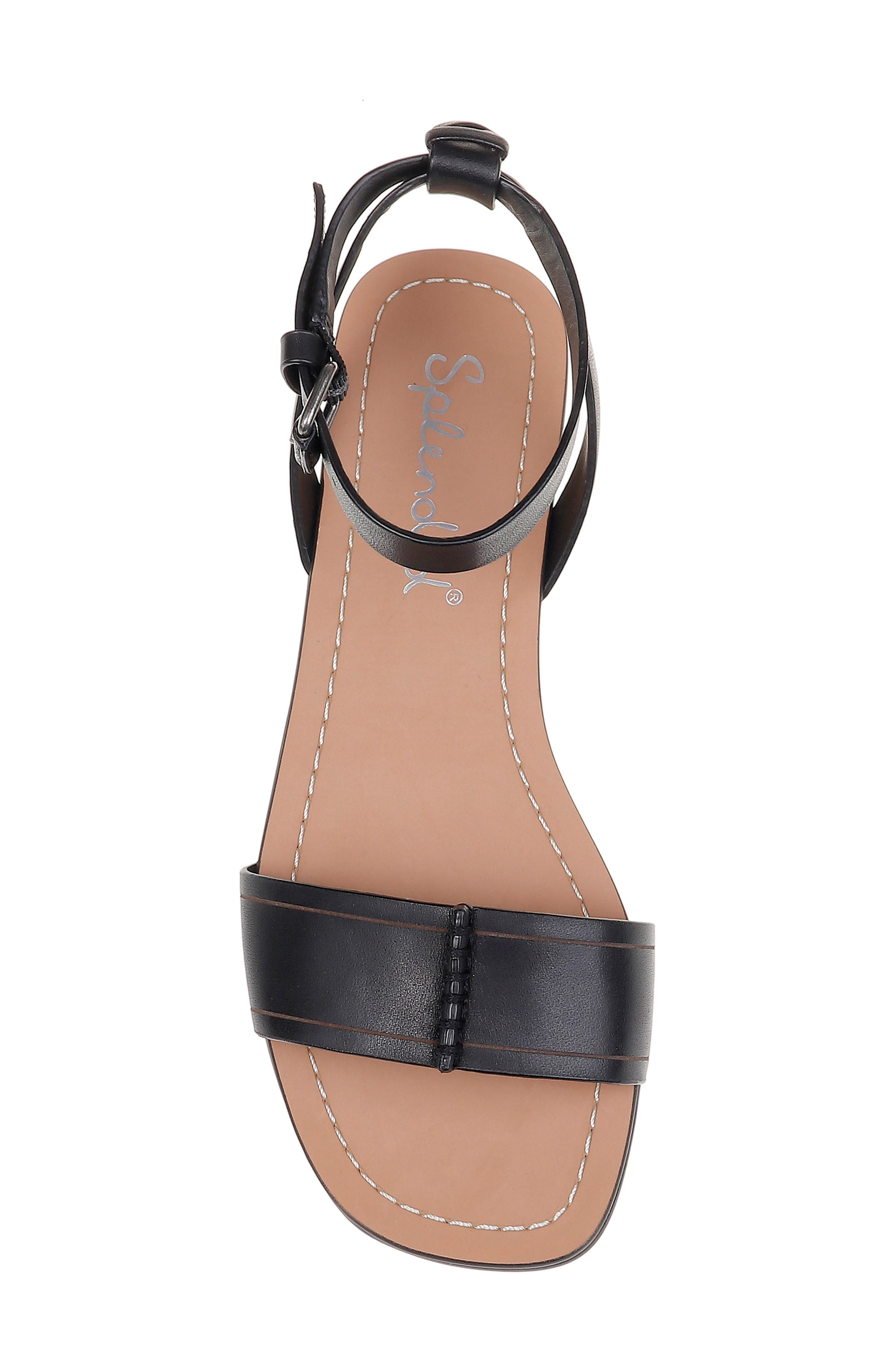 SPLENDID, Tabitha Ankle Strap Flat Sandal, Alternate thumbnail 5, color, BLACK LEATHER