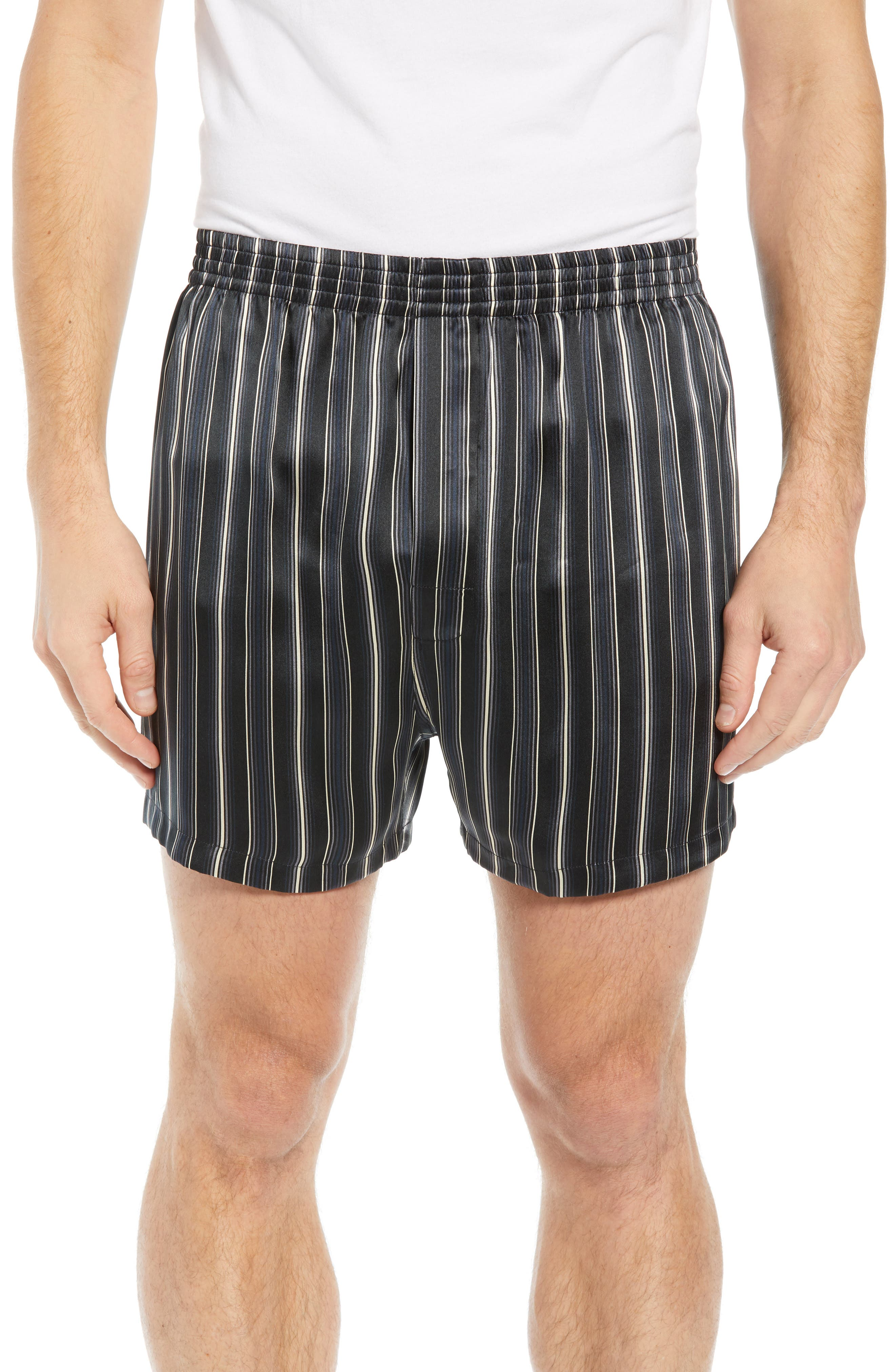 MAJESTIC INTERNATIONAL, Fresh Ink Stripe Silk Boxers, Main thumbnail 1, color, FOG